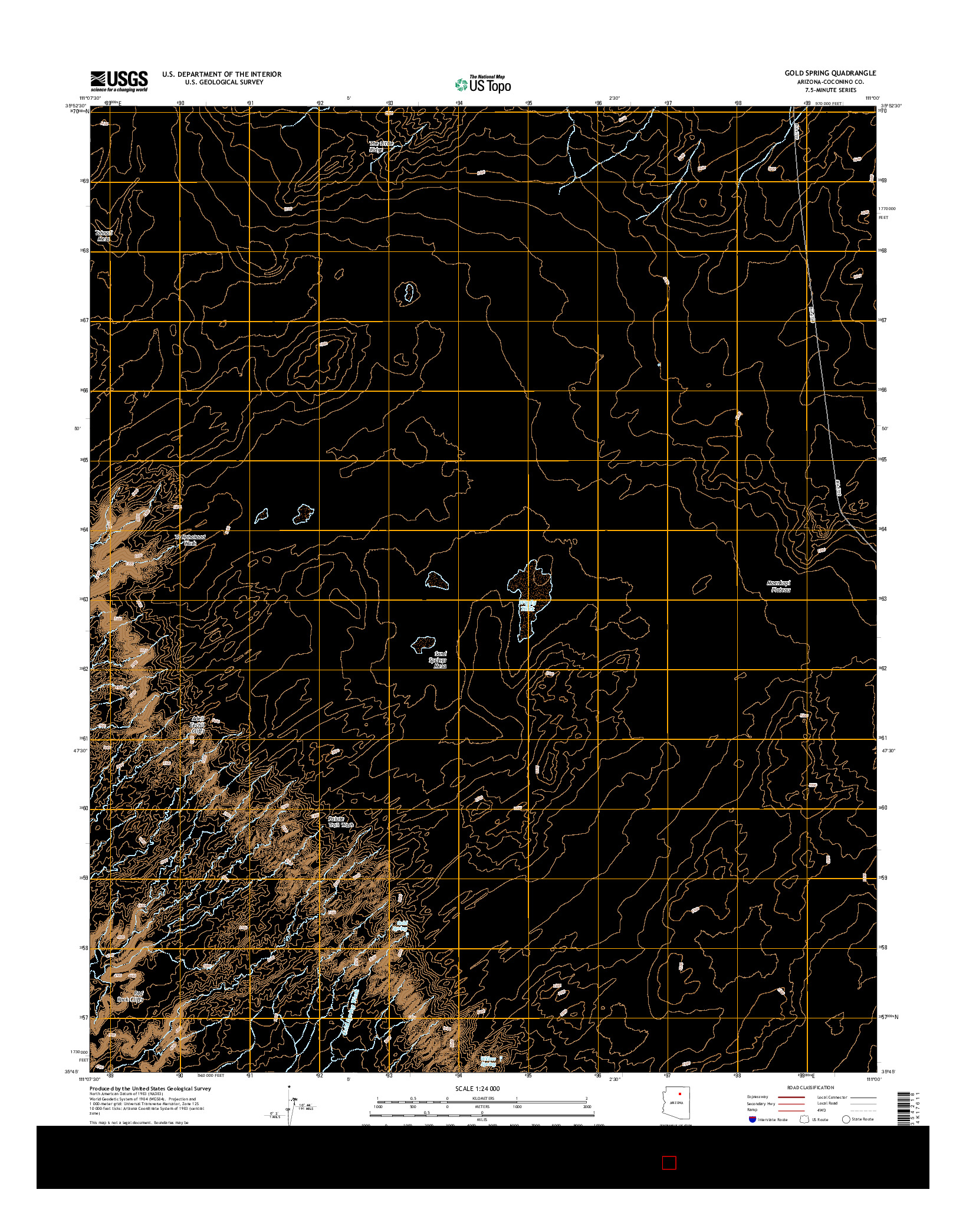 USGS US TOPO 7.5-MINUTE MAP FOR GOLD SPRING, AZ 2014