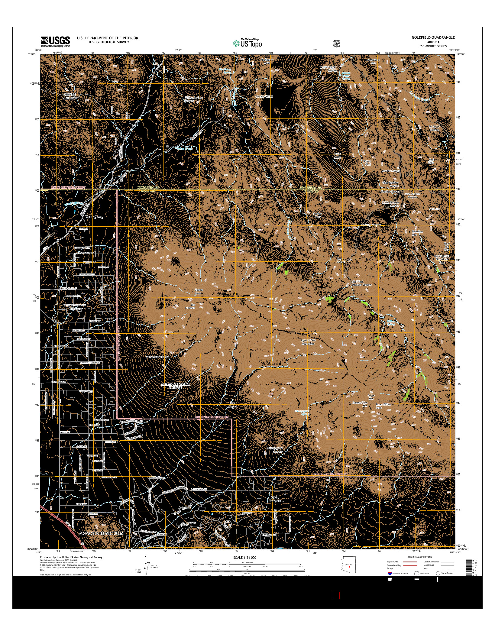 USGS US TOPO 7.5-MINUTE MAP FOR GOLDFIELD, AZ 2014