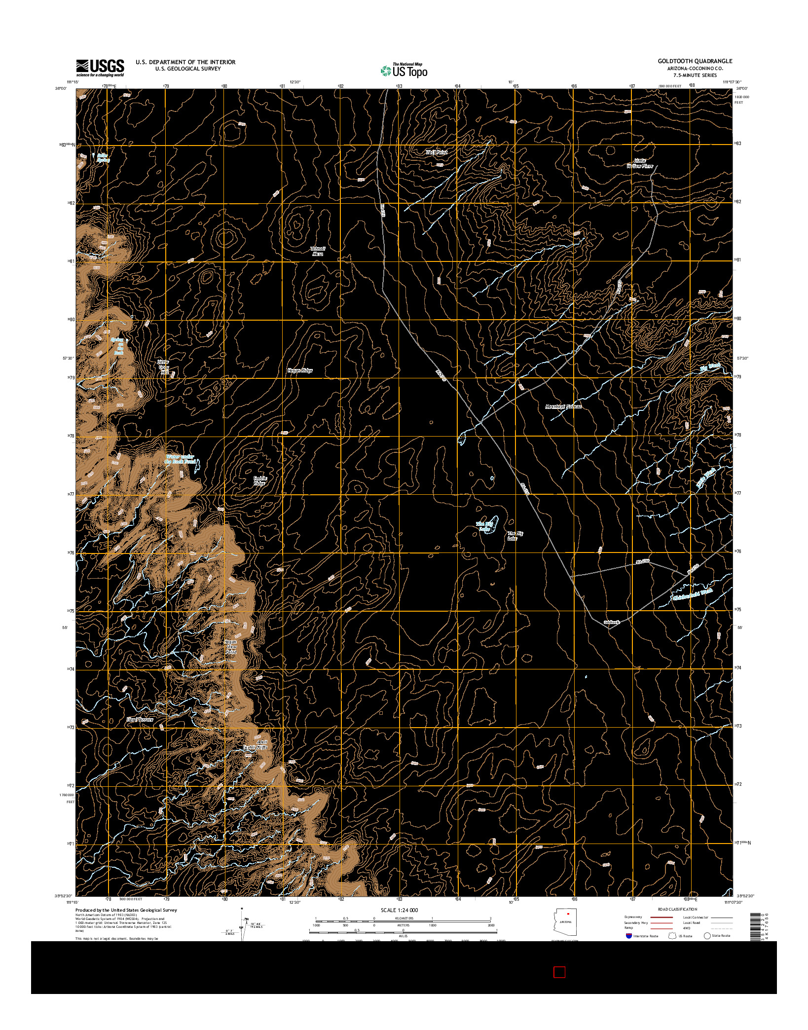 USGS US TOPO 7.5-MINUTE MAP FOR GOLDTOOTH, AZ 2014