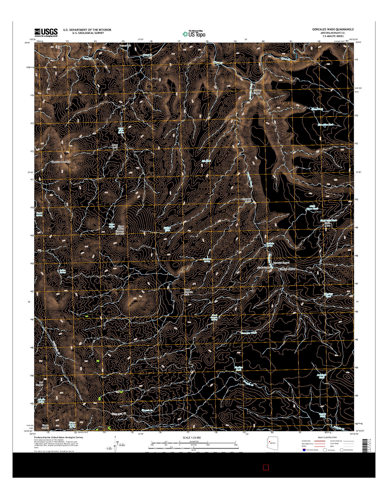 USGS US TOPO 7.5-MINUTE MAP FOR GONZALES WASH, AZ 2014