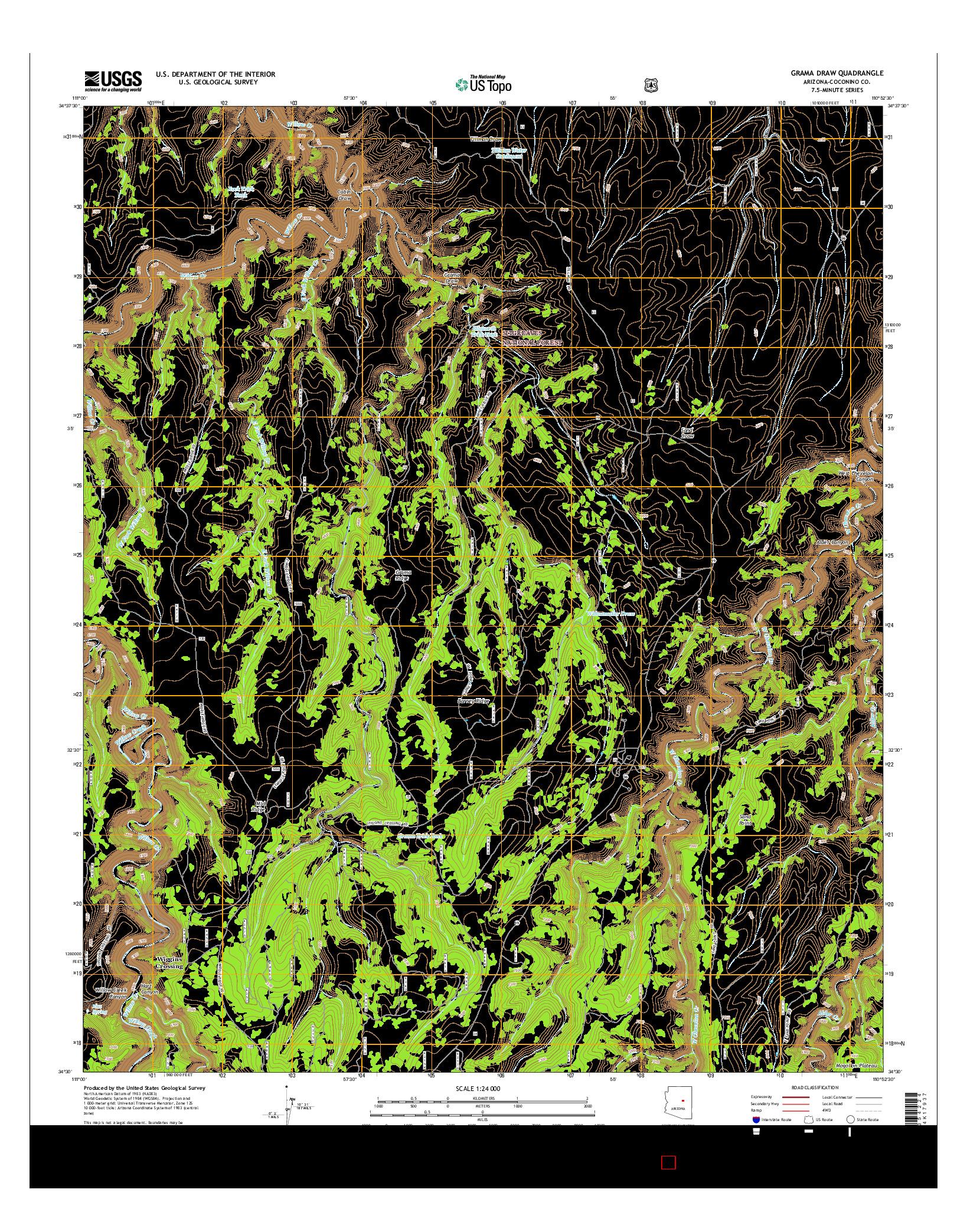 USGS US TOPO 7.5-MINUTE MAP FOR GRAMA DRAW, AZ 2014