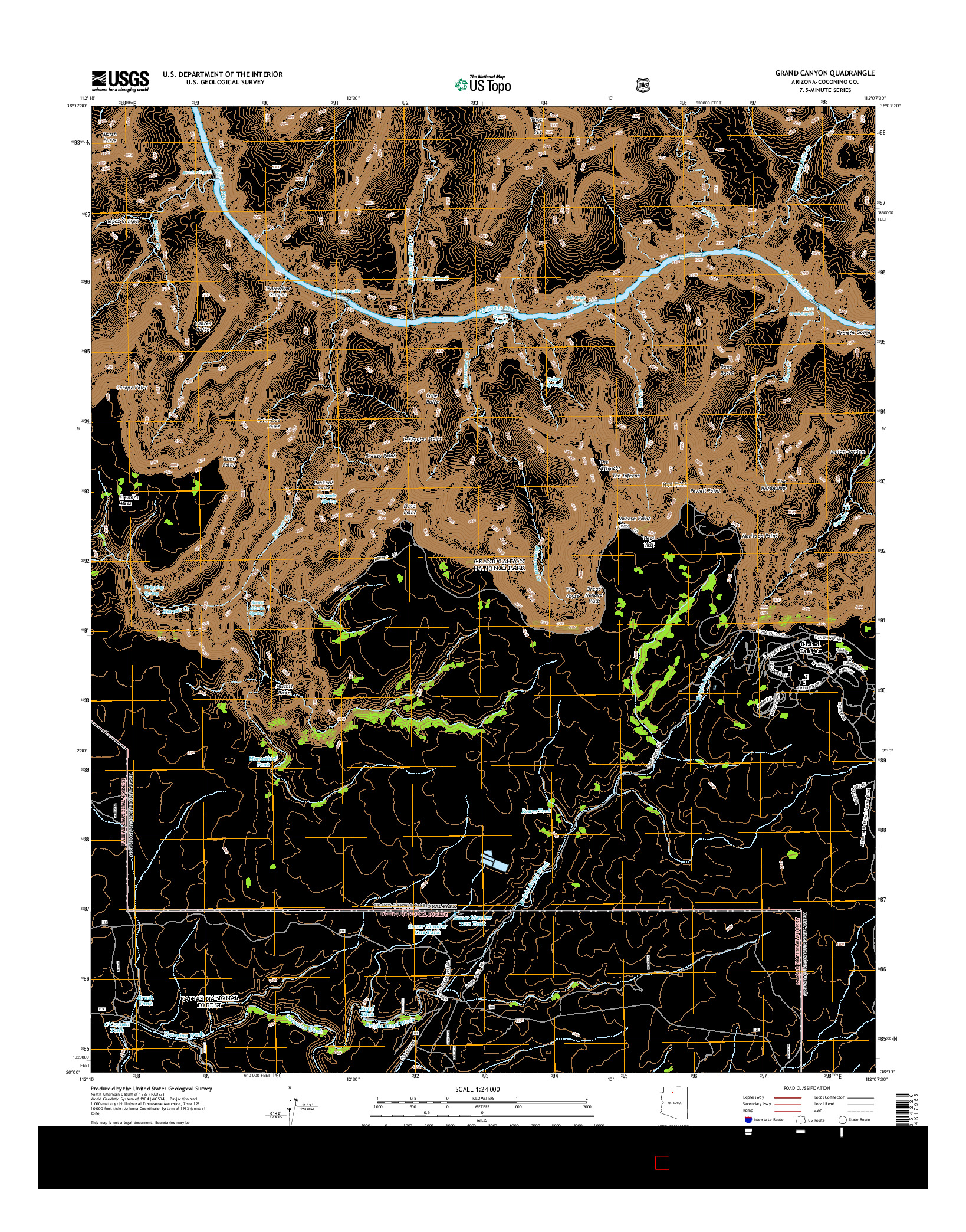 USGS US TOPO 7.5-MINUTE MAP FOR GRAND CANYON, AZ 2014