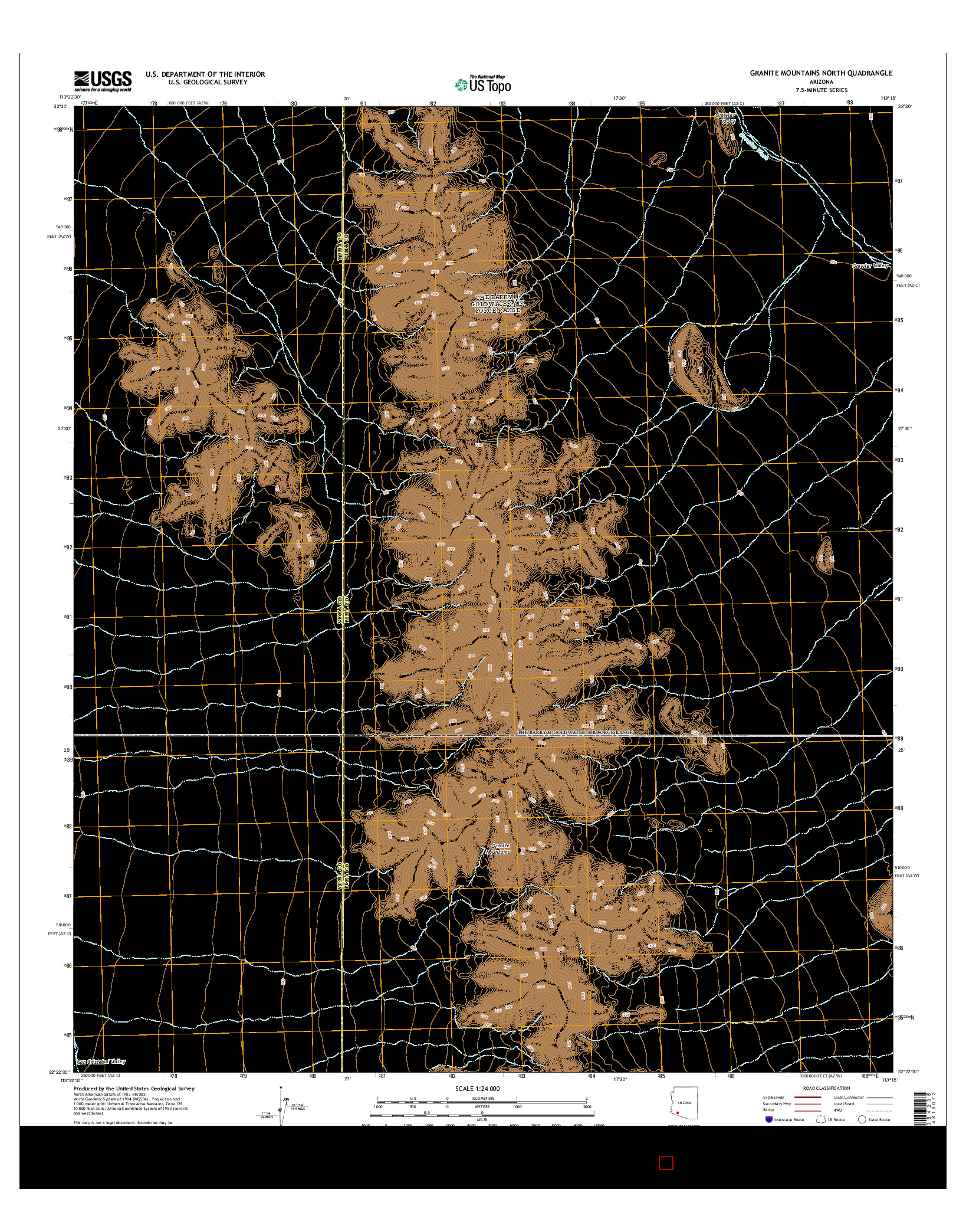 USGS US TOPO 7.5-MINUTE MAP FOR GRANITE MOUNTAINS NORTH, AZ 2014