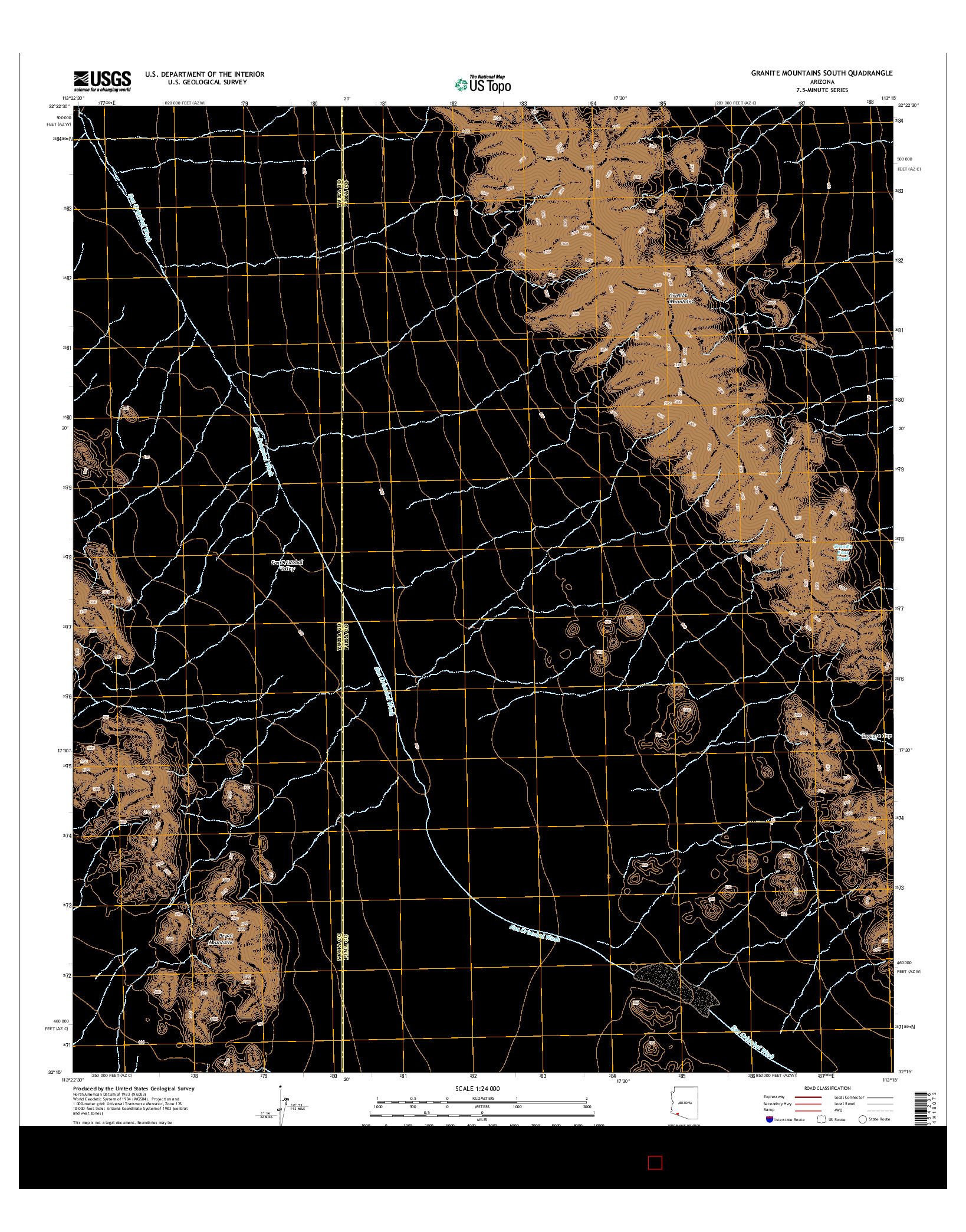 USGS US TOPO 7.5-MINUTE MAP FOR GRANITE MOUNTAINS SOUTH, AZ 2014
