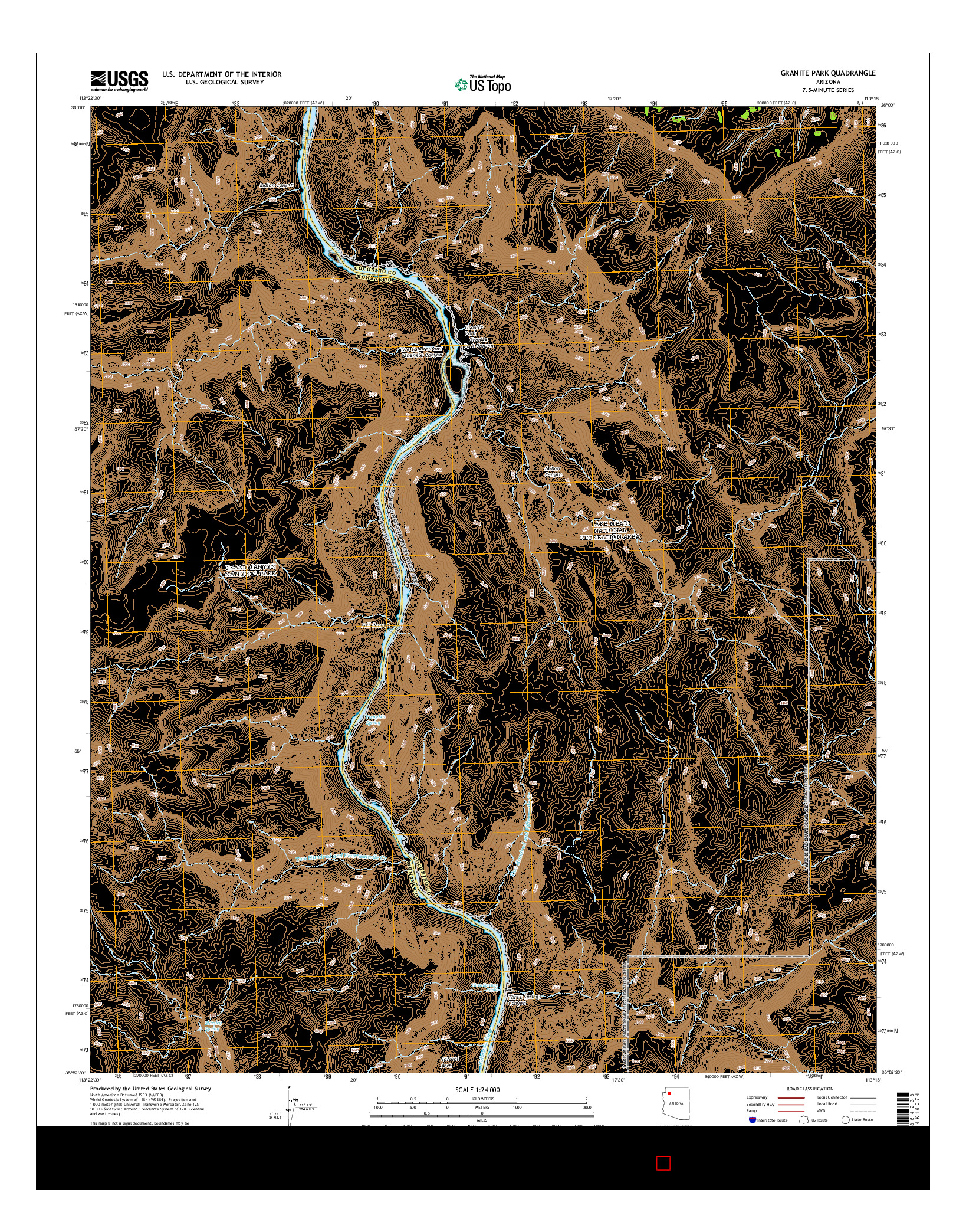 USGS US TOPO 7.5-MINUTE MAP FOR GRANITE PARK, AZ 2014