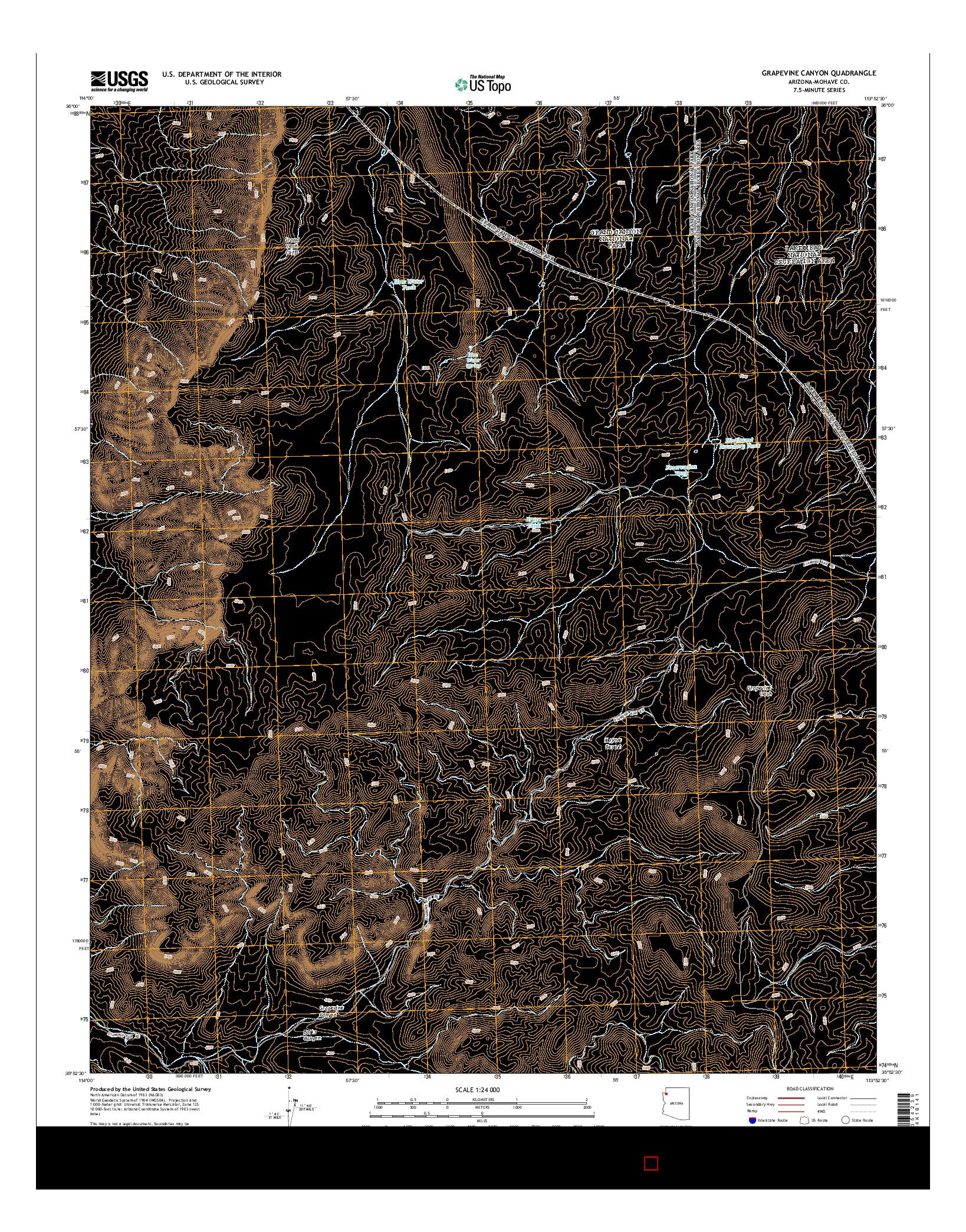 USGS US TOPO 7.5-MINUTE MAP FOR GRAPEVINE CANYON, AZ 2014