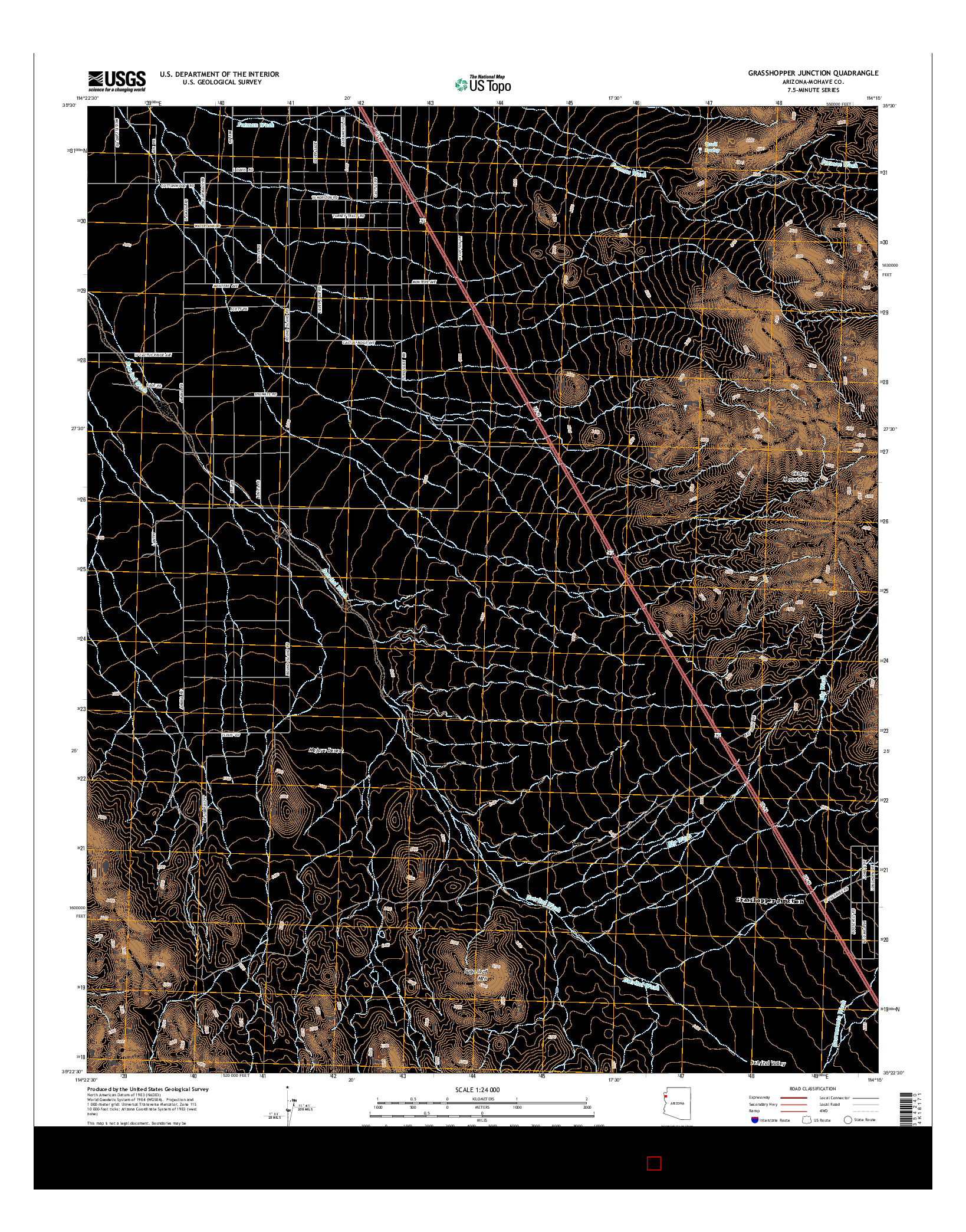 USGS US TOPO 7.5-MINUTE MAP FOR GRASSHOPPER JUNCTION, AZ 2014