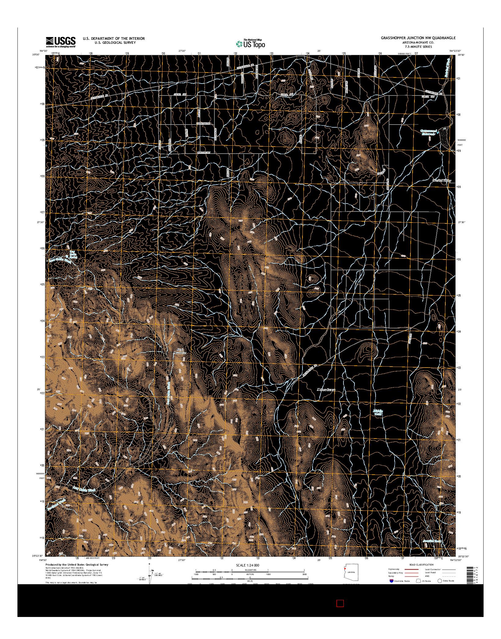 USGS US TOPO 7.5-MINUTE MAP FOR GRASSHOPPER JUNCTION NW, AZ 2014