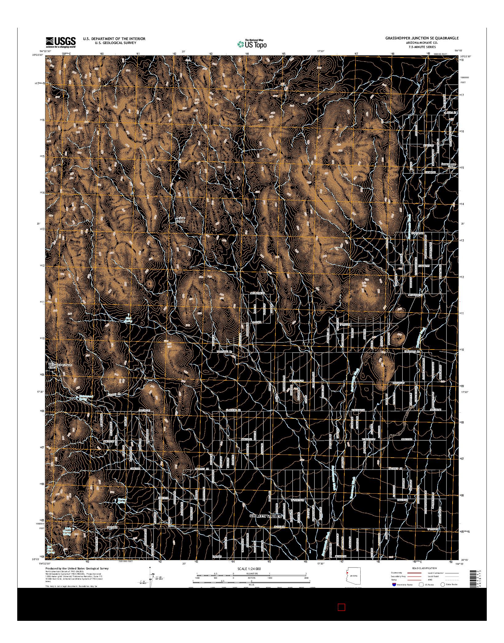 USGS US TOPO 7.5-MINUTE MAP FOR GRASSHOPPER JUNCTION SE, AZ 2014