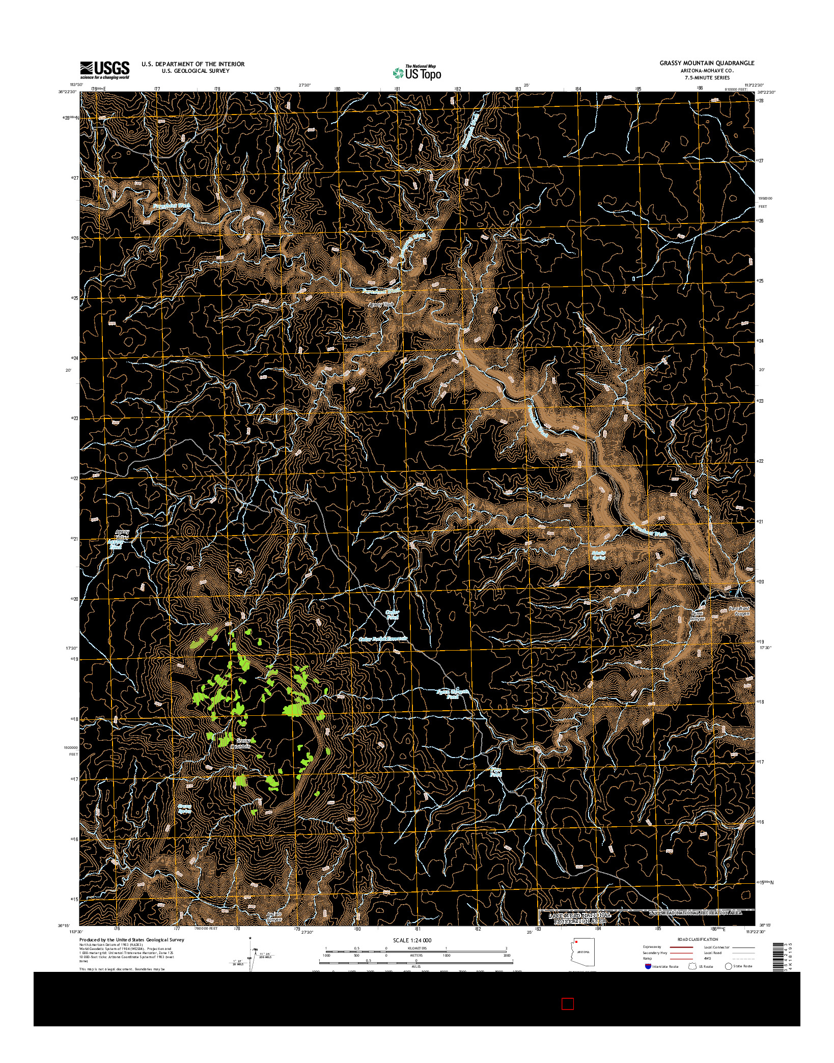 USGS US TOPO 7.5-MINUTE MAP FOR GRASSY MOUNTAIN, AZ 2014