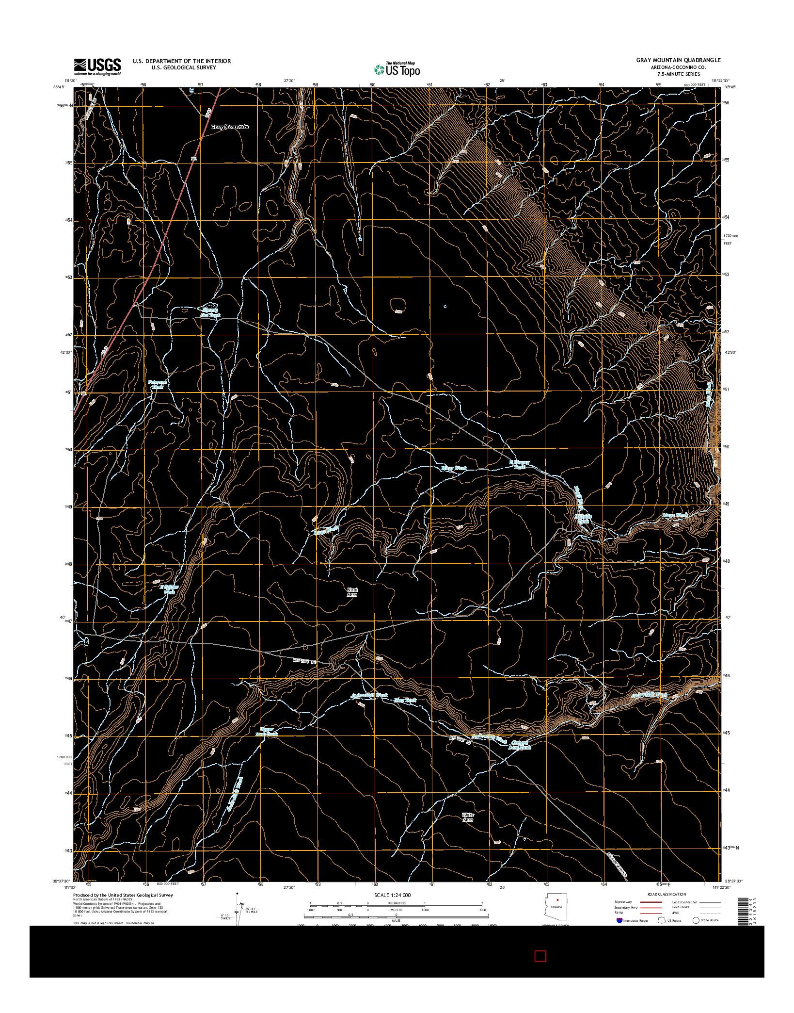 USGS US TOPO 7.5-MINUTE MAP FOR GRAY MOUNTAIN, AZ 2014