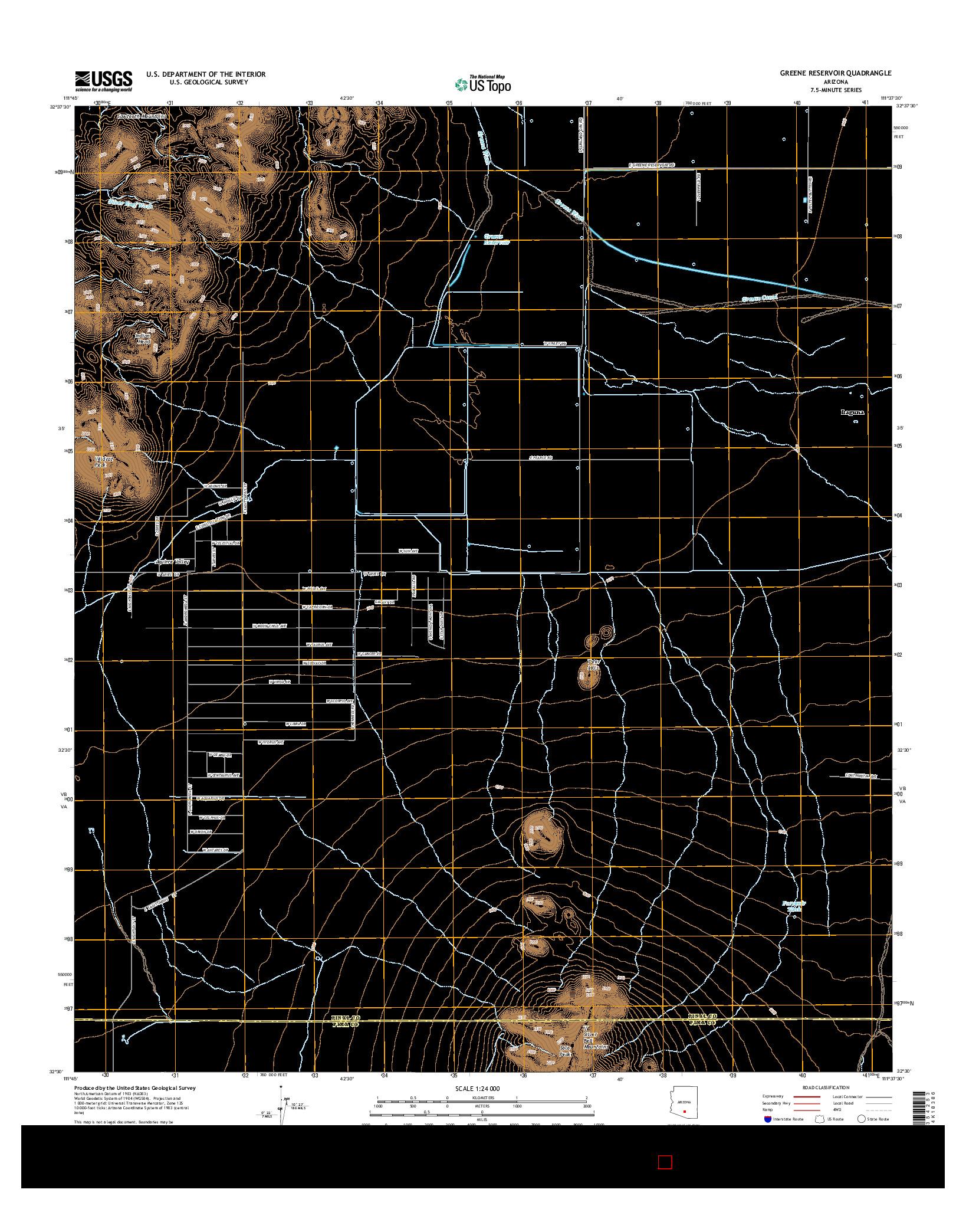 USGS US TOPO 7.5-MINUTE MAP FOR GREENE RESERVOIR, AZ 2014