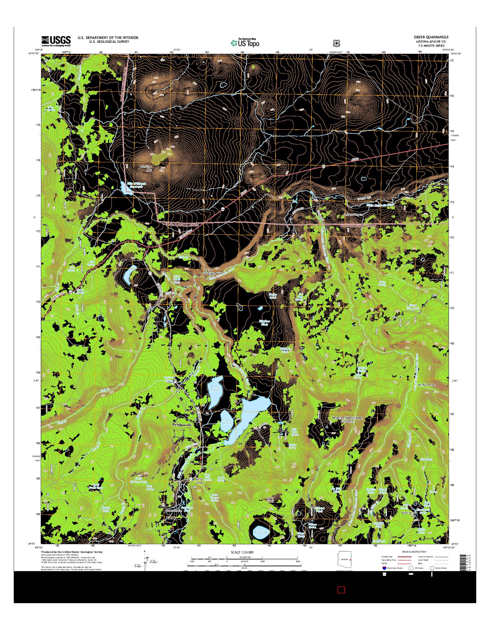 USGS US TOPO 7.5-MINUTE MAP FOR GREER, AZ 2014