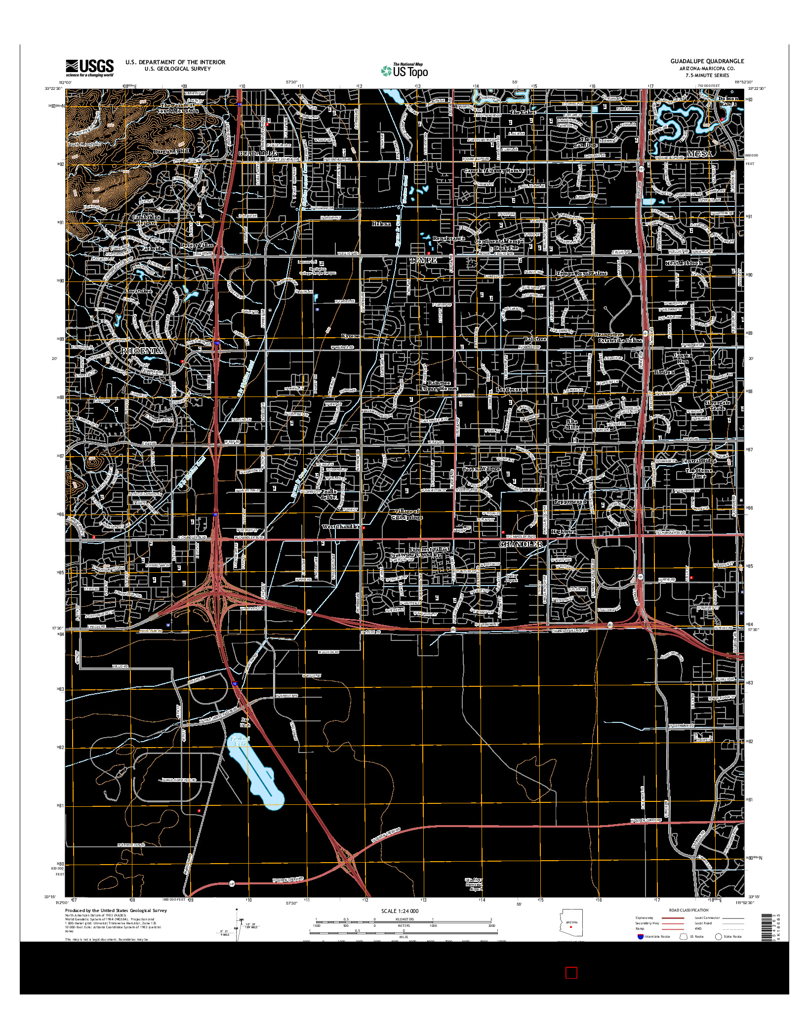 USGS US TOPO 7.5-MINUTE MAP FOR GUADALUPE, AZ 2014