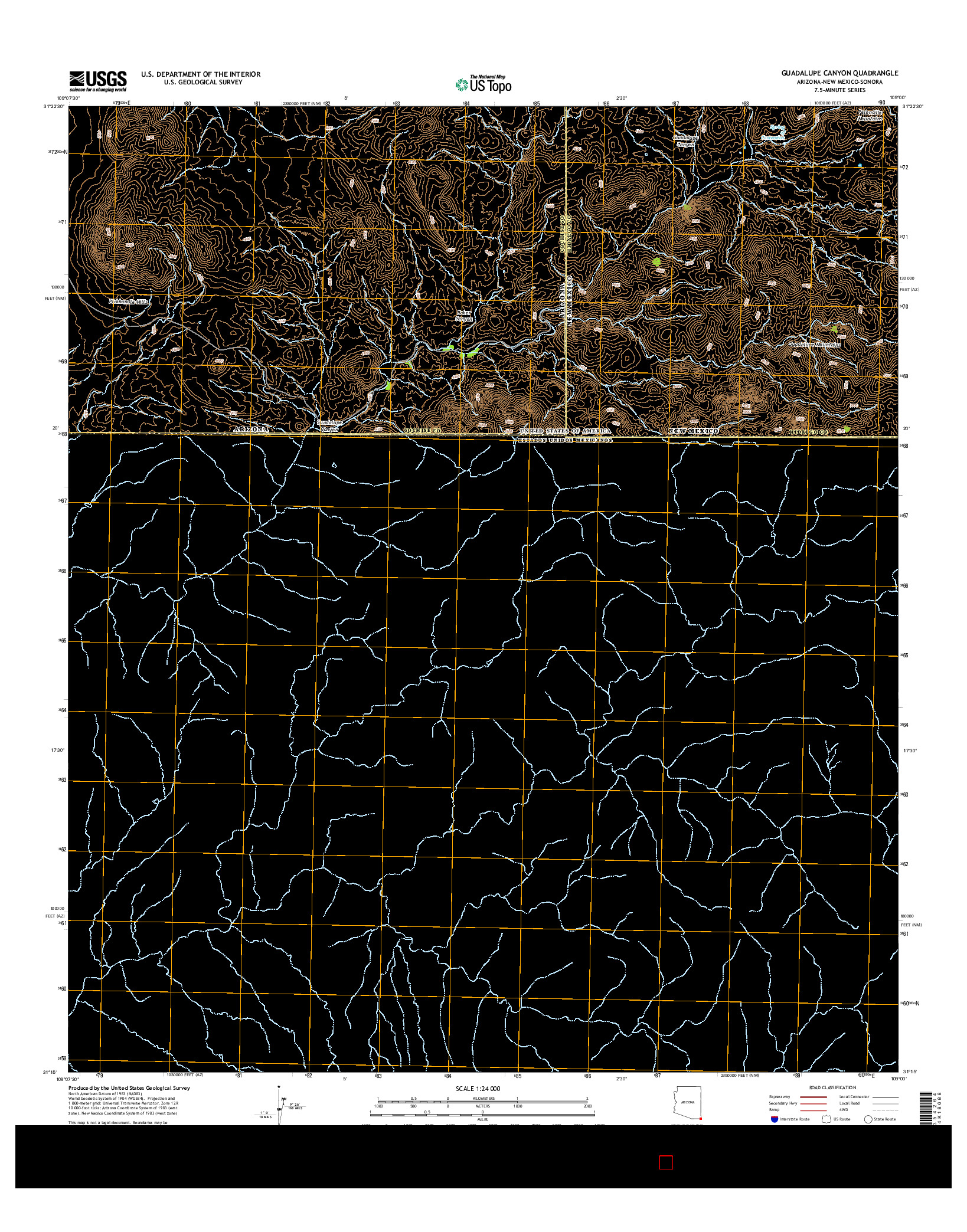 USGS US TOPO 7.5-MINUTE MAP FOR GUADALUPE CANYON, AZ-NM-SON 2014