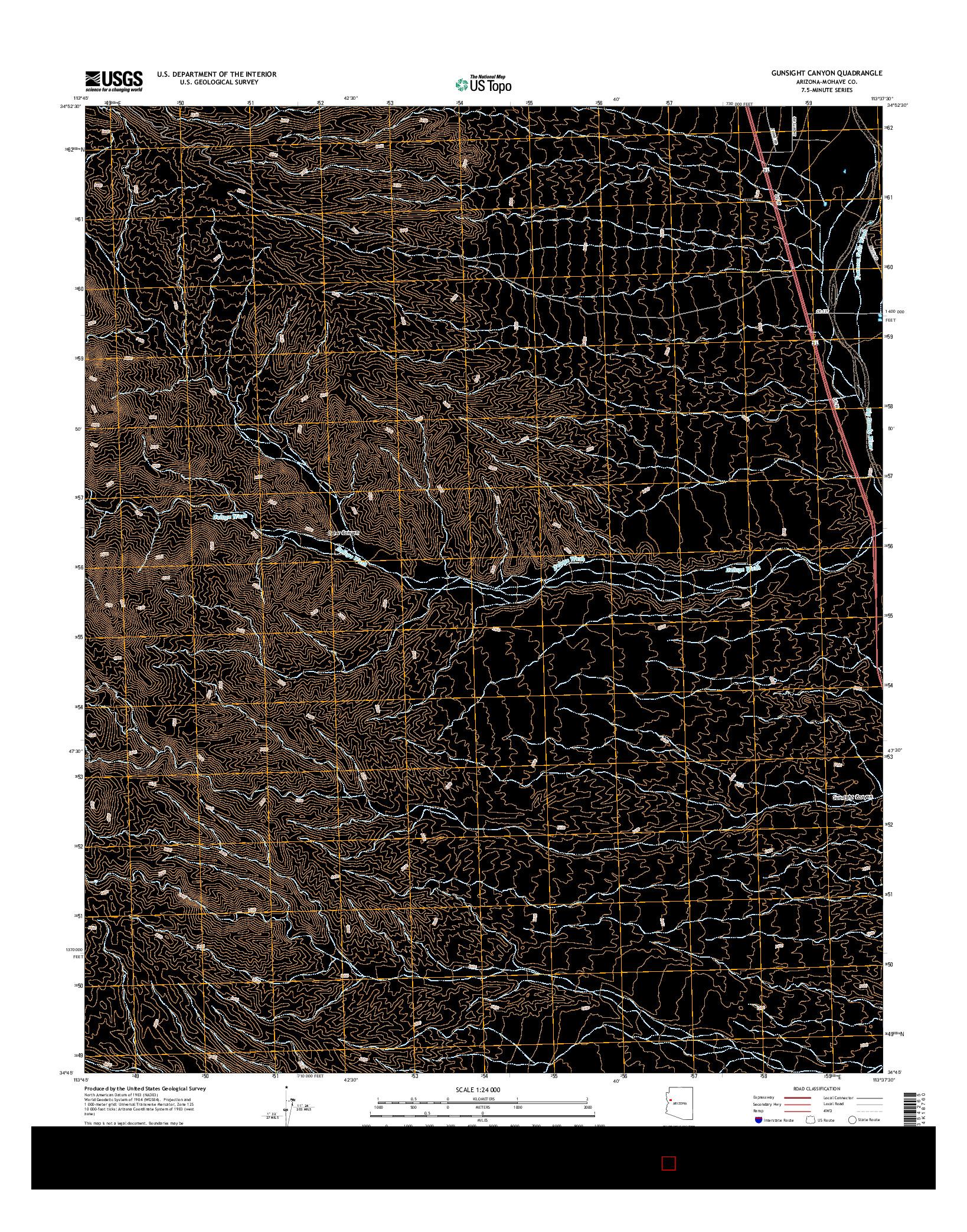 USGS US TOPO 7.5-MINUTE MAP FOR GUNSIGHT CANYON, AZ 2014