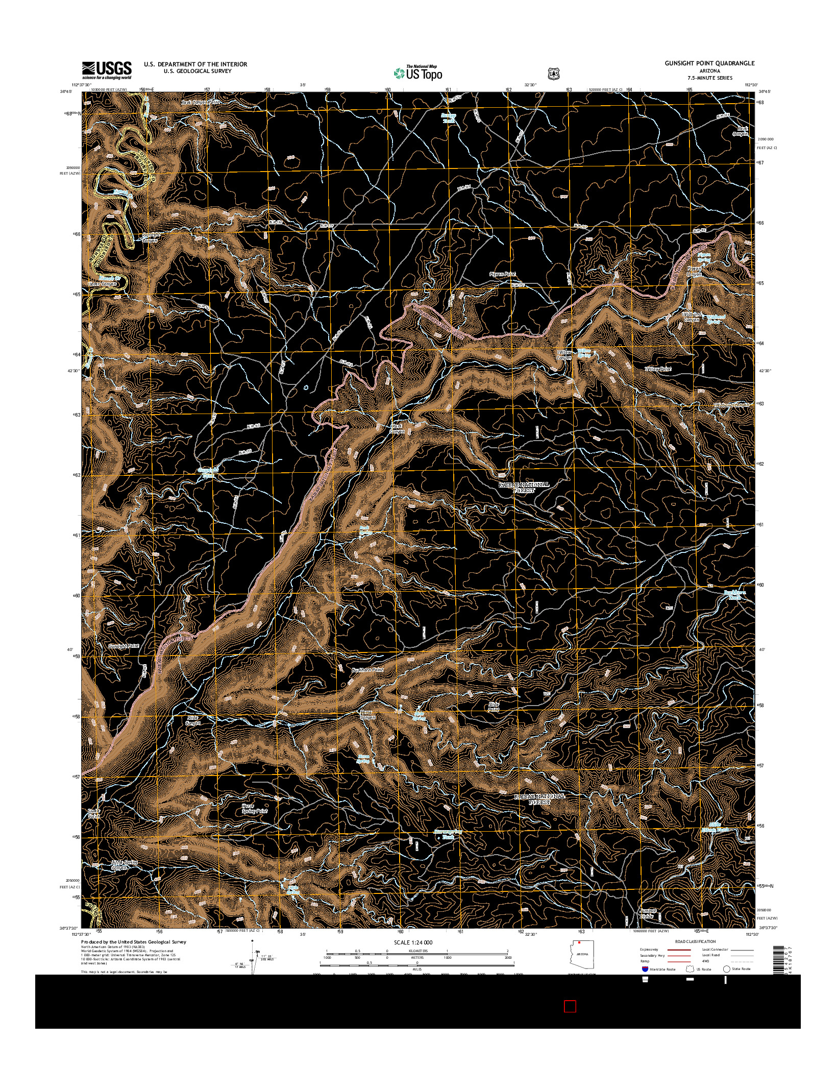 USGS US TOPO 7.5-MINUTE MAP FOR GUNSIGHT POINT, AZ 2014