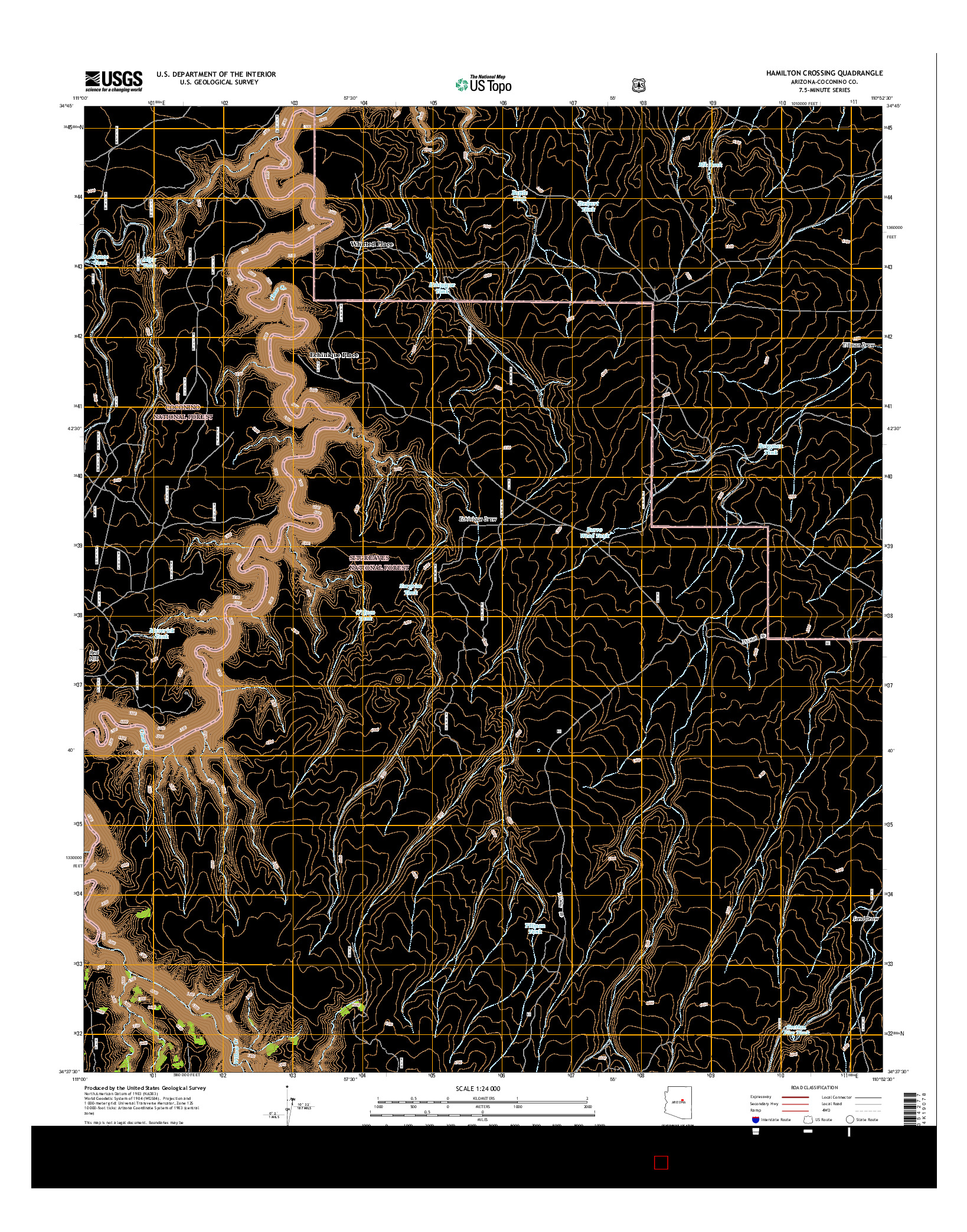 USGS US TOPO 7.5-MINUTE MAP FOR HAMILTON CROSSING, AZ 2014