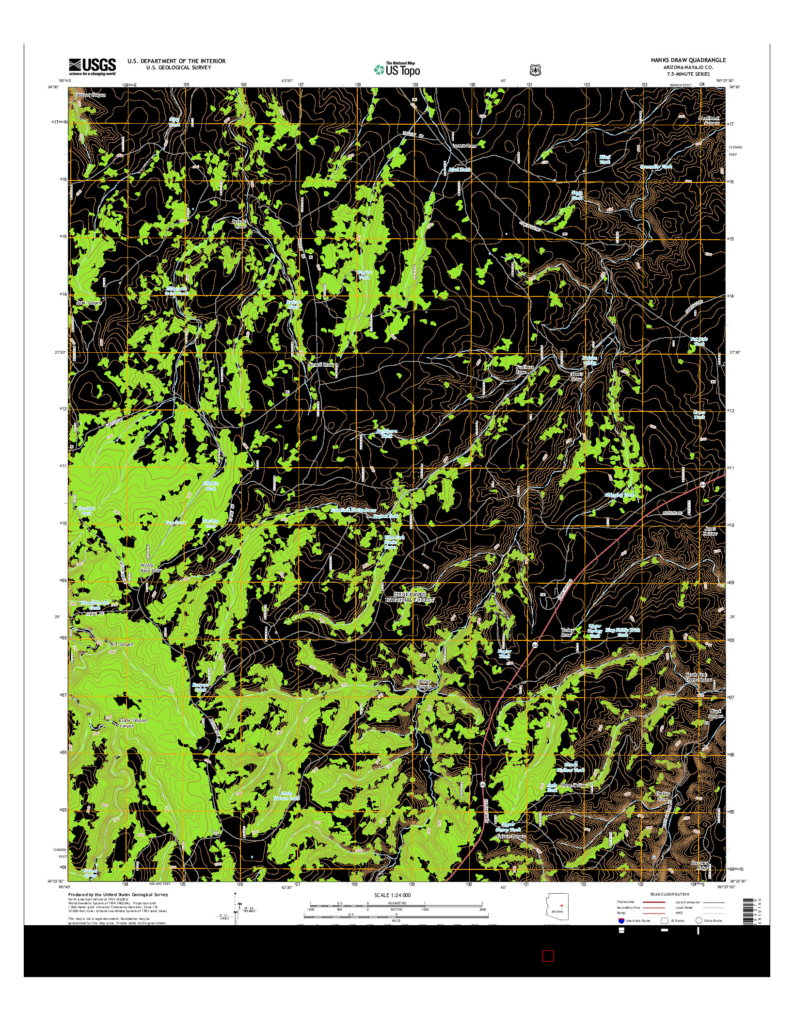 USGS US TOPO 7.5-MINUTE MAP FOR HANKS DRAW, AZ 2014