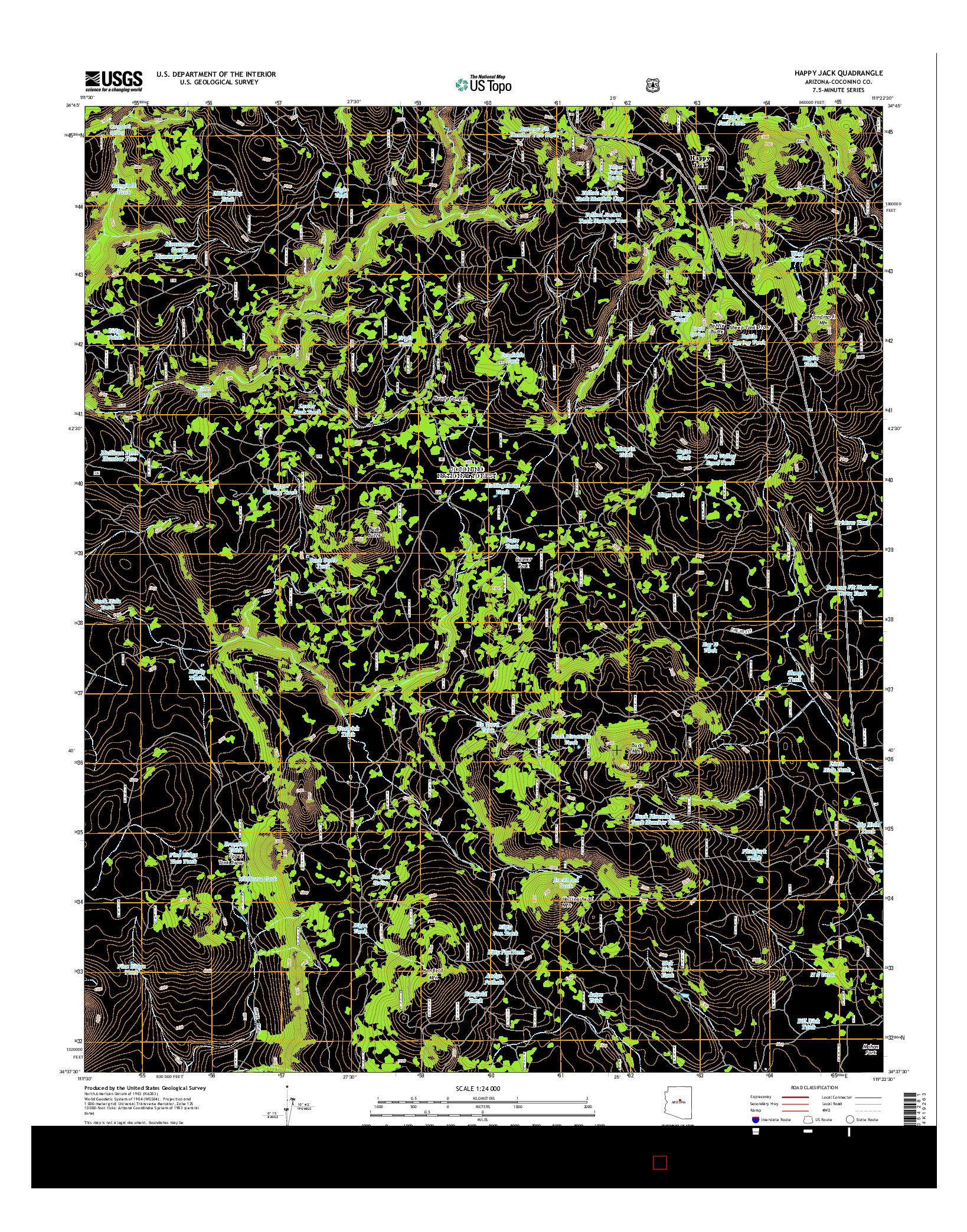 USGS US TOPO 7.5-MINUTE MAP FOR HAPPY JACK, AZ 2014