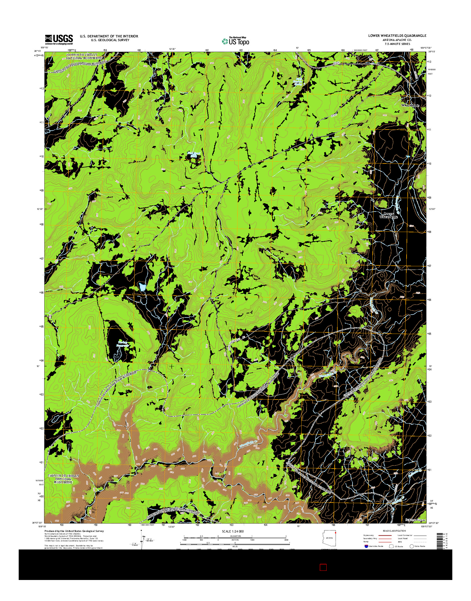USGS US TOPO 7.5-MINUTE MAP FOR LOWER WHEATFIELDS, AZ 2014