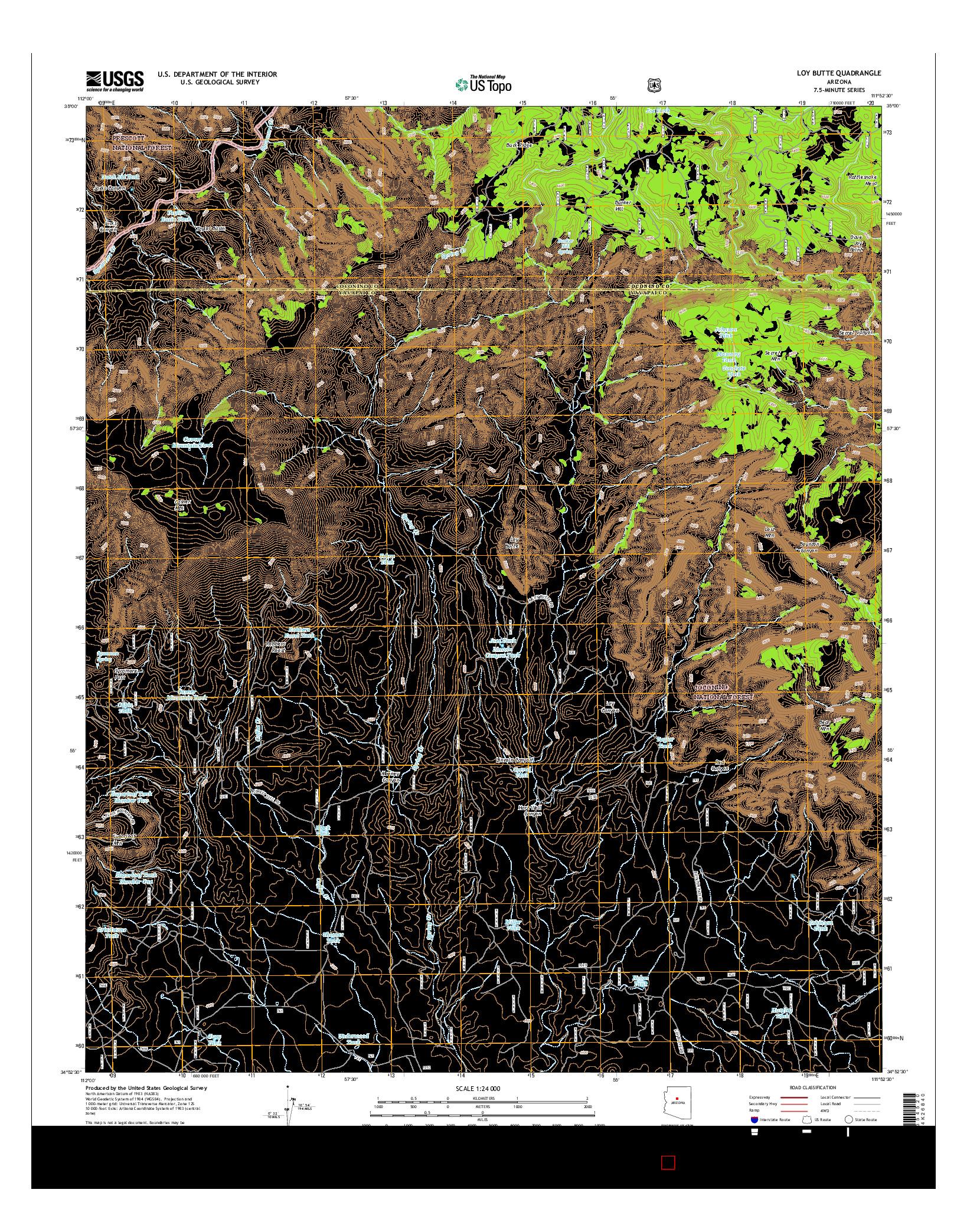 USGS US TOPO 7.5-MINUTE MAP FOR LOY BUTTE, AZ 2014