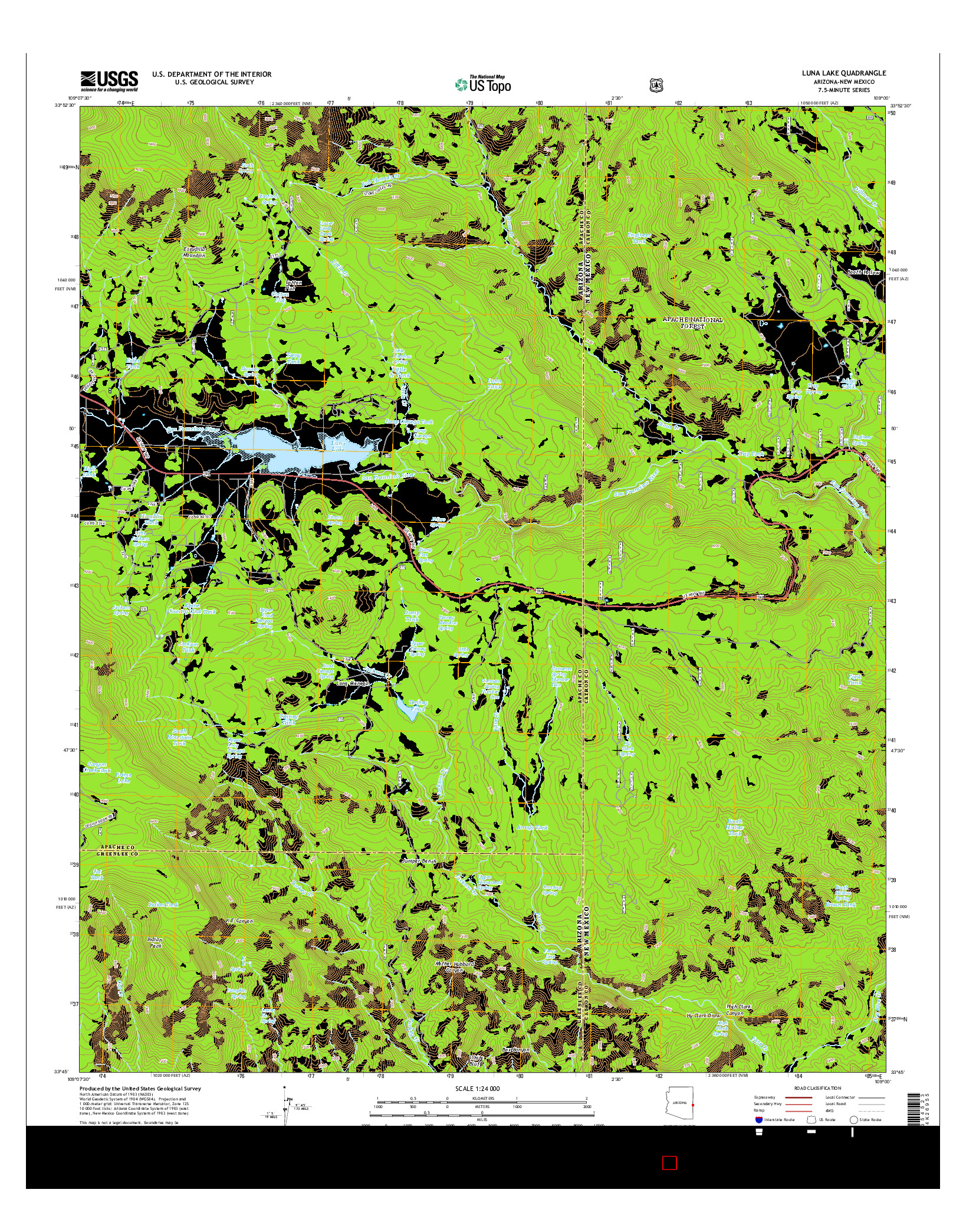 USGS US TOPO 7.5-MINUTE MAP FOR LUNA LAKE, AZ-NM 2014