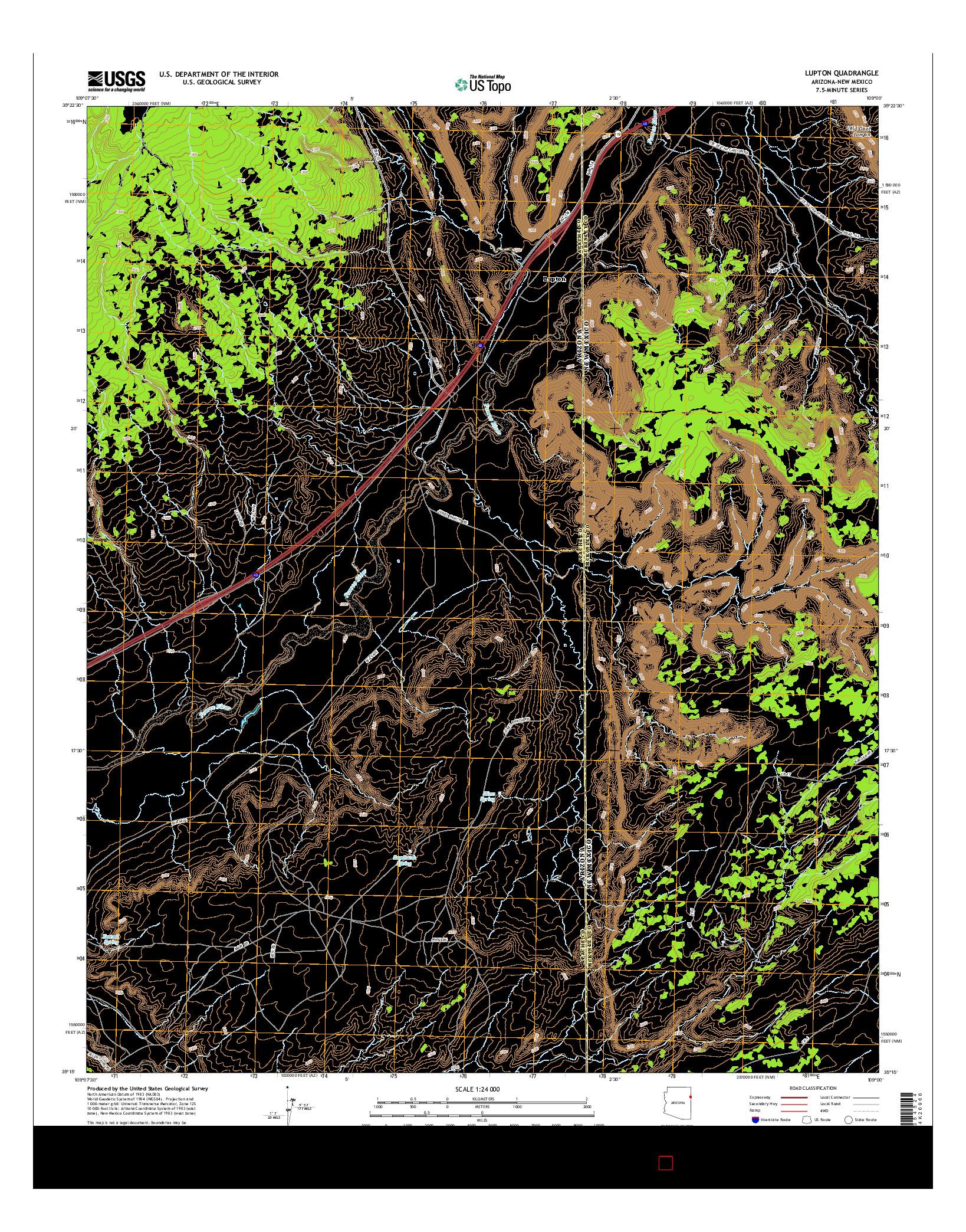 USGS US TOPO 7.5-MINUTE MAP FOR LUPTON, AZ-NM 2014