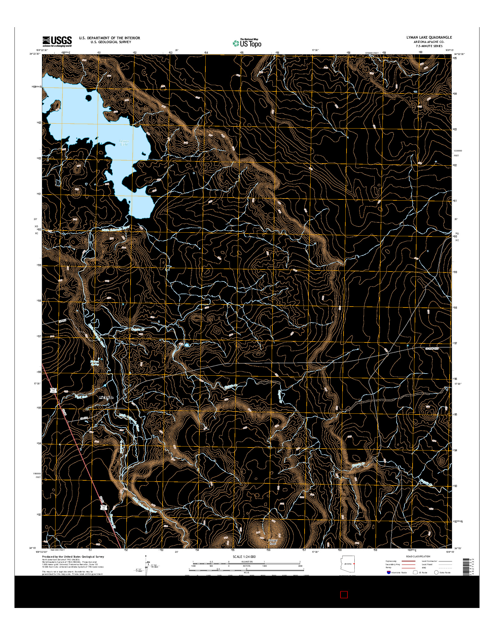USGS US TOPO 7.5-MINUTE MAP FOR LYMAN LAKE, AZ 2014
