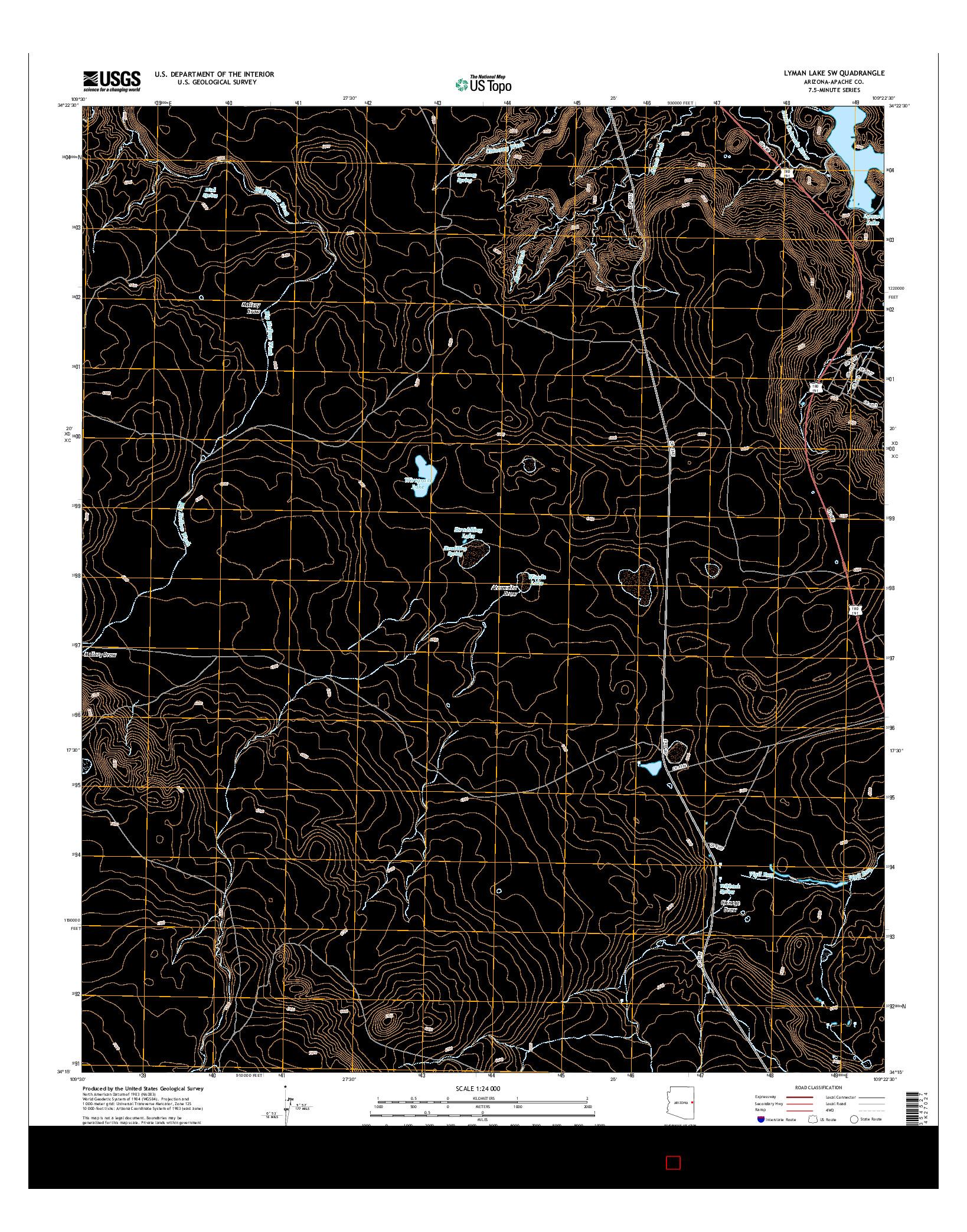 USGS US TOPO 7.5-MINUTE MAP FOR LYMAN LAKE SW, AZ 2014