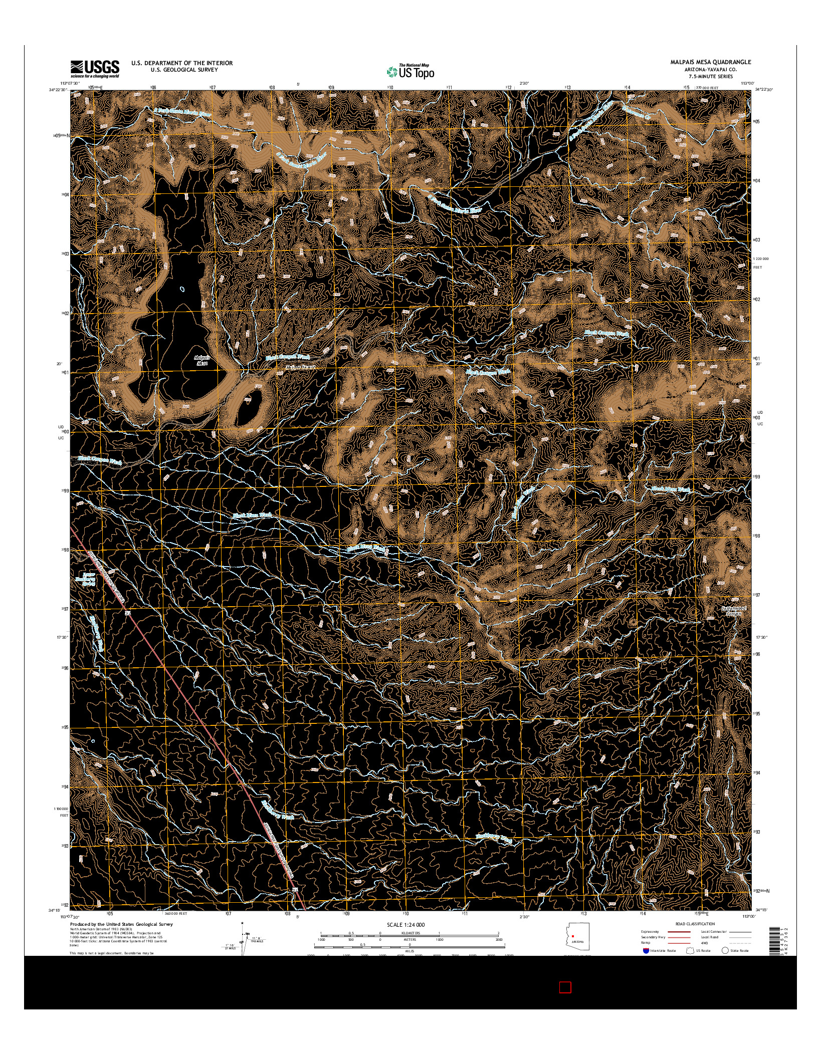 USGS US TOPO 7.5-MINUTE MAP FOR MALPAIS MESA, AZ 2014
