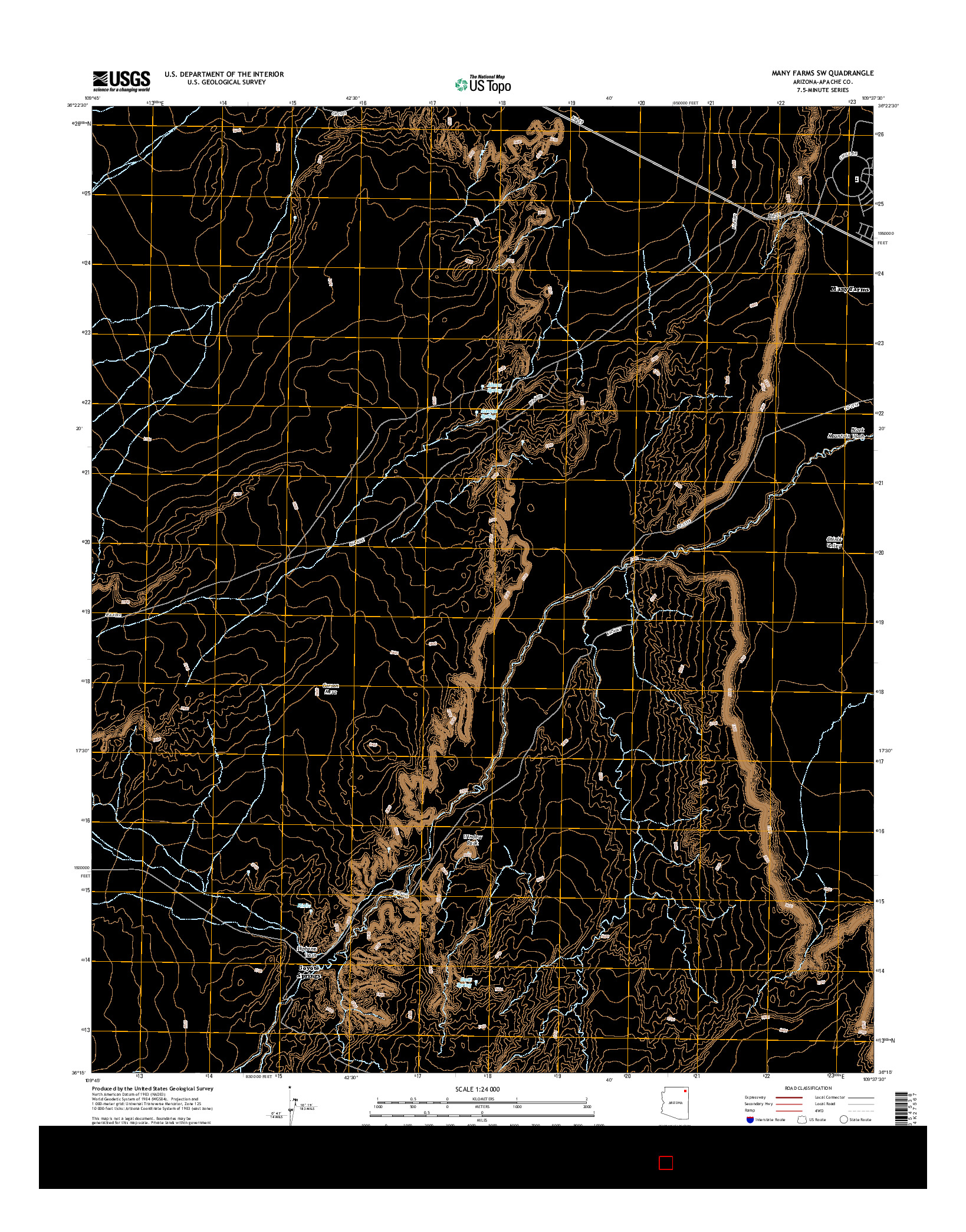 USGS US TOPO 7.5-MINUTE MAP FOR MANY FARMS SW, AZ 2014