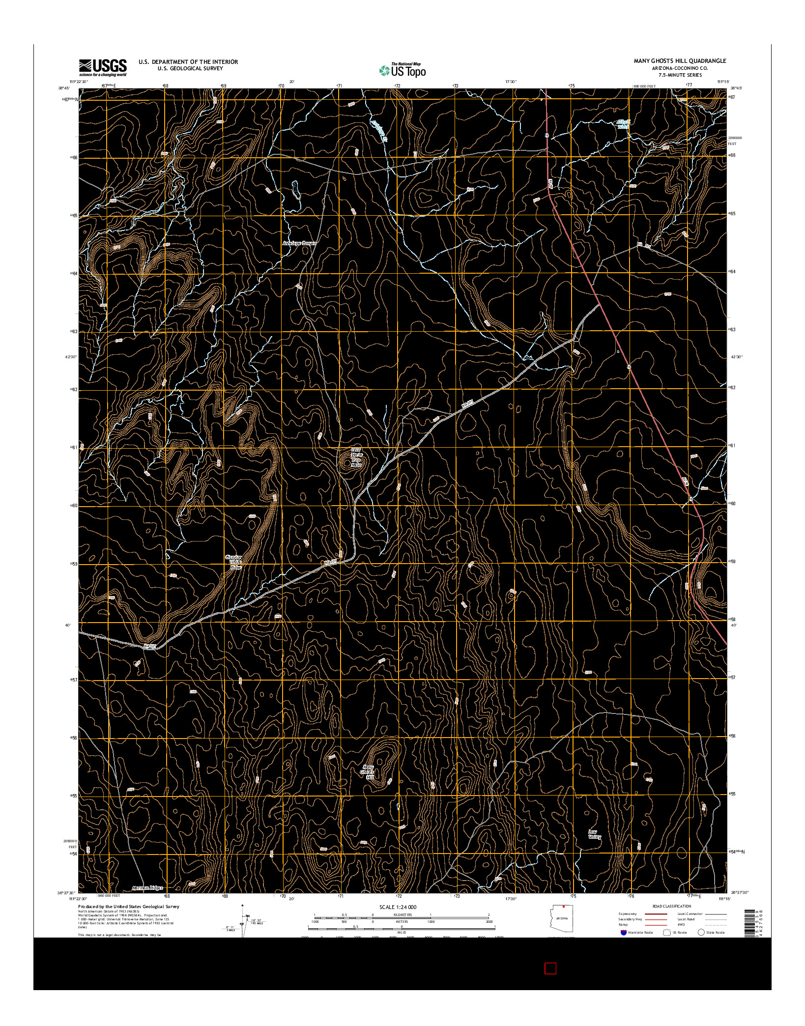 USGS US TOPO 7.5-MINUTE MAP FOR MANY GHOSTS HILL, AZ 2014