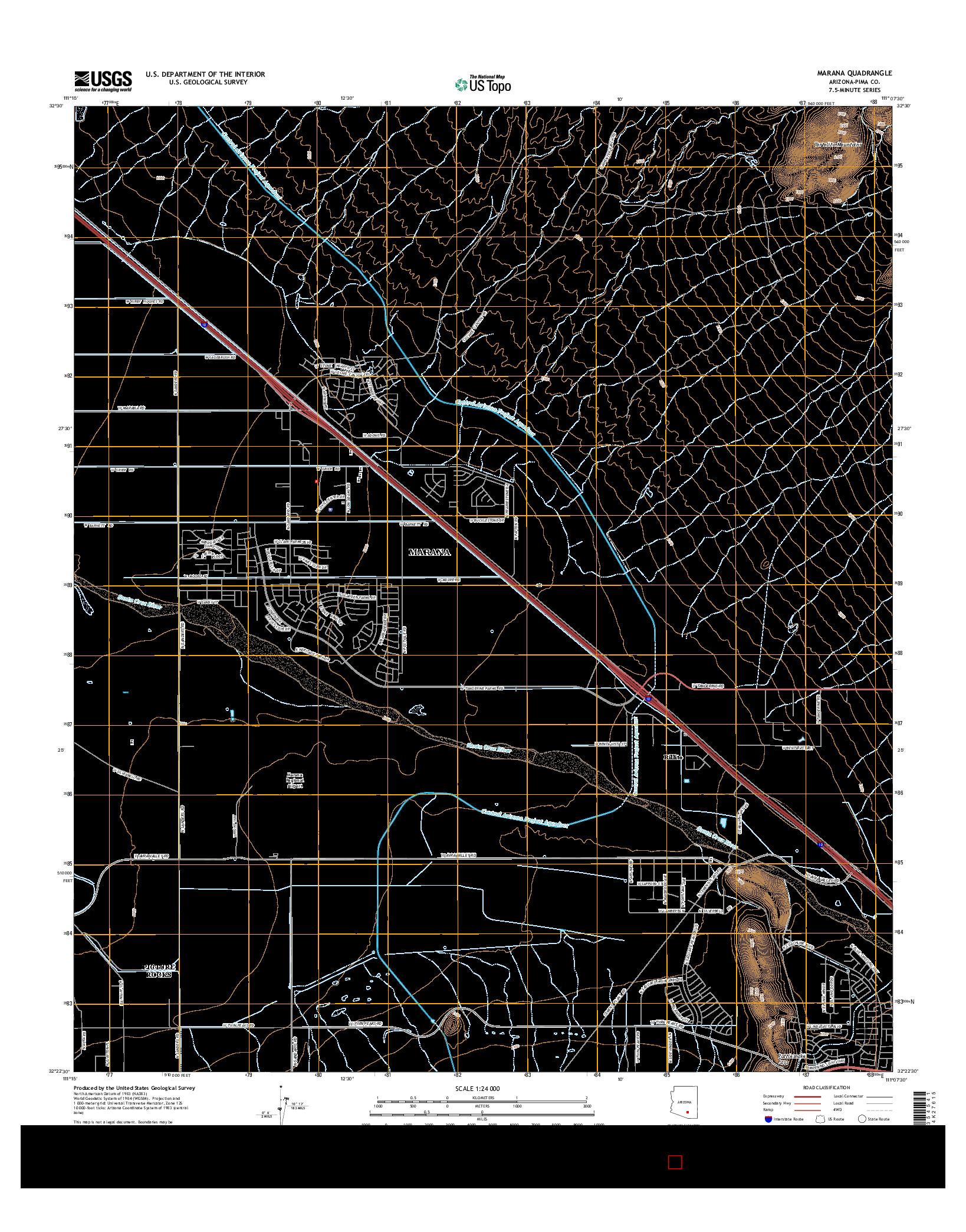 USGS US TOPO 7.5-MINUTE MAP FOR MARANA, AZ 2014