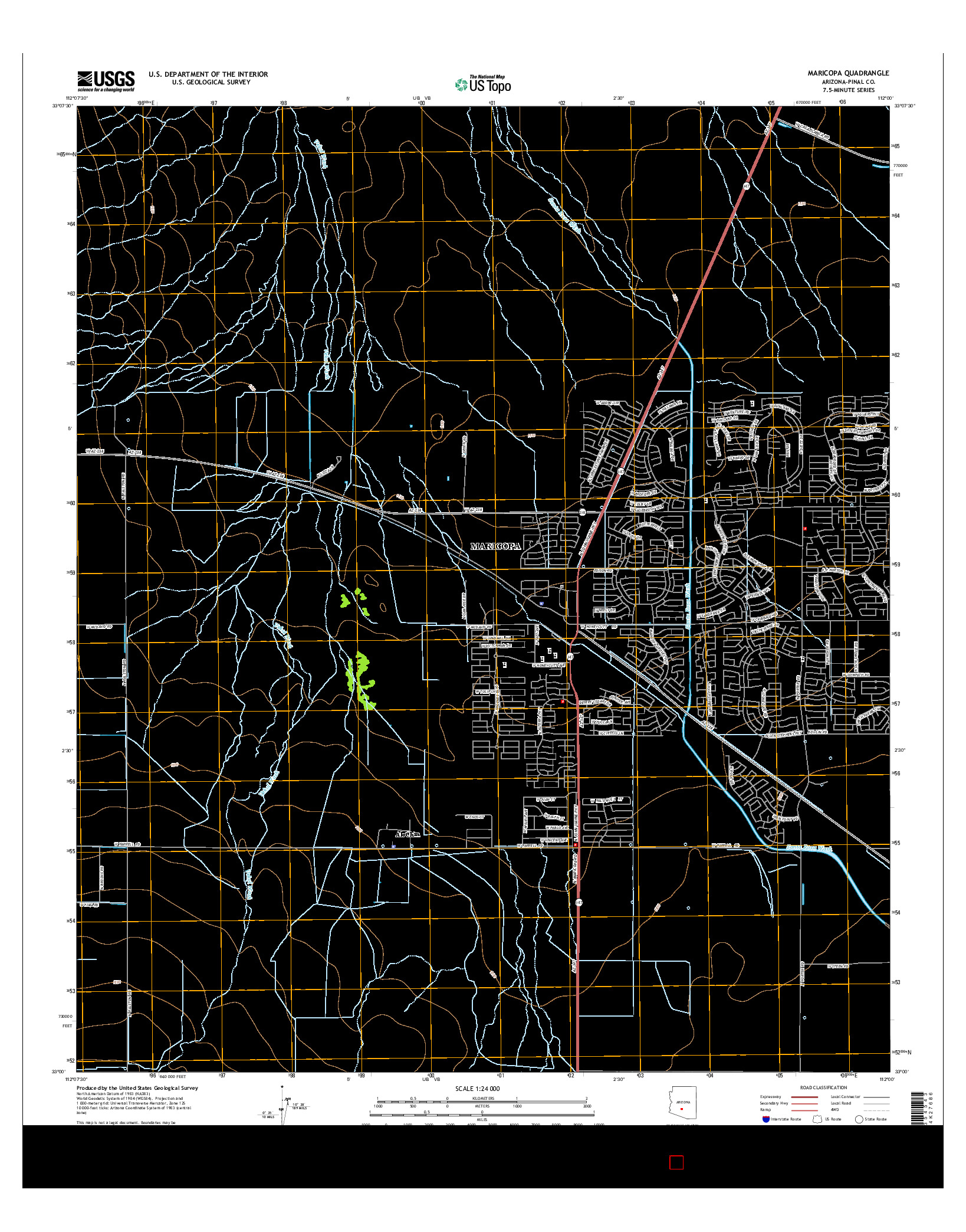 USGS US TOPO 7.5-MINUTE MAP FOR MARICOPA, AZ 2014