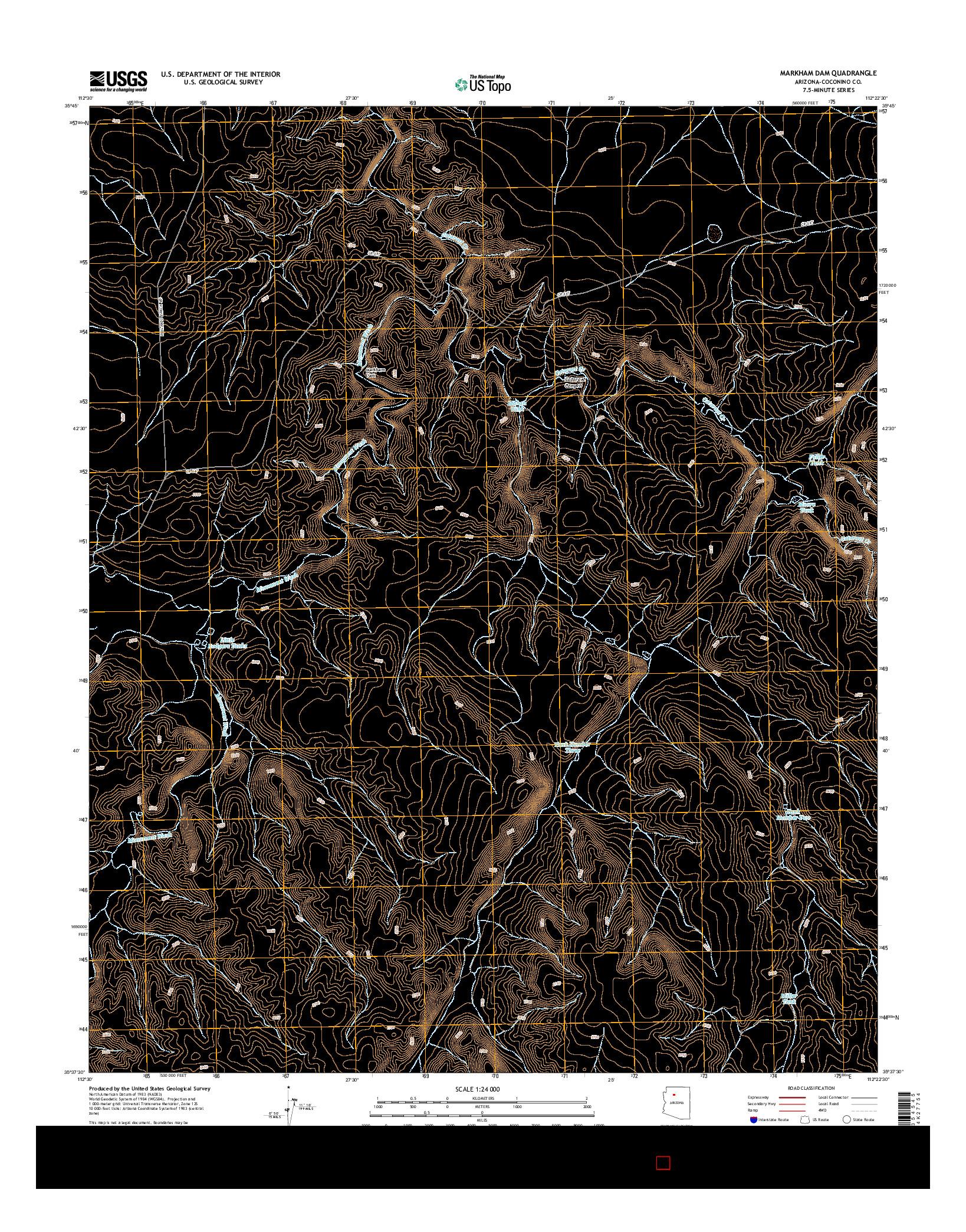USGS US TOPO 7.5-MINUTE MAP FOR MARKHAM DAM, AZ 2014