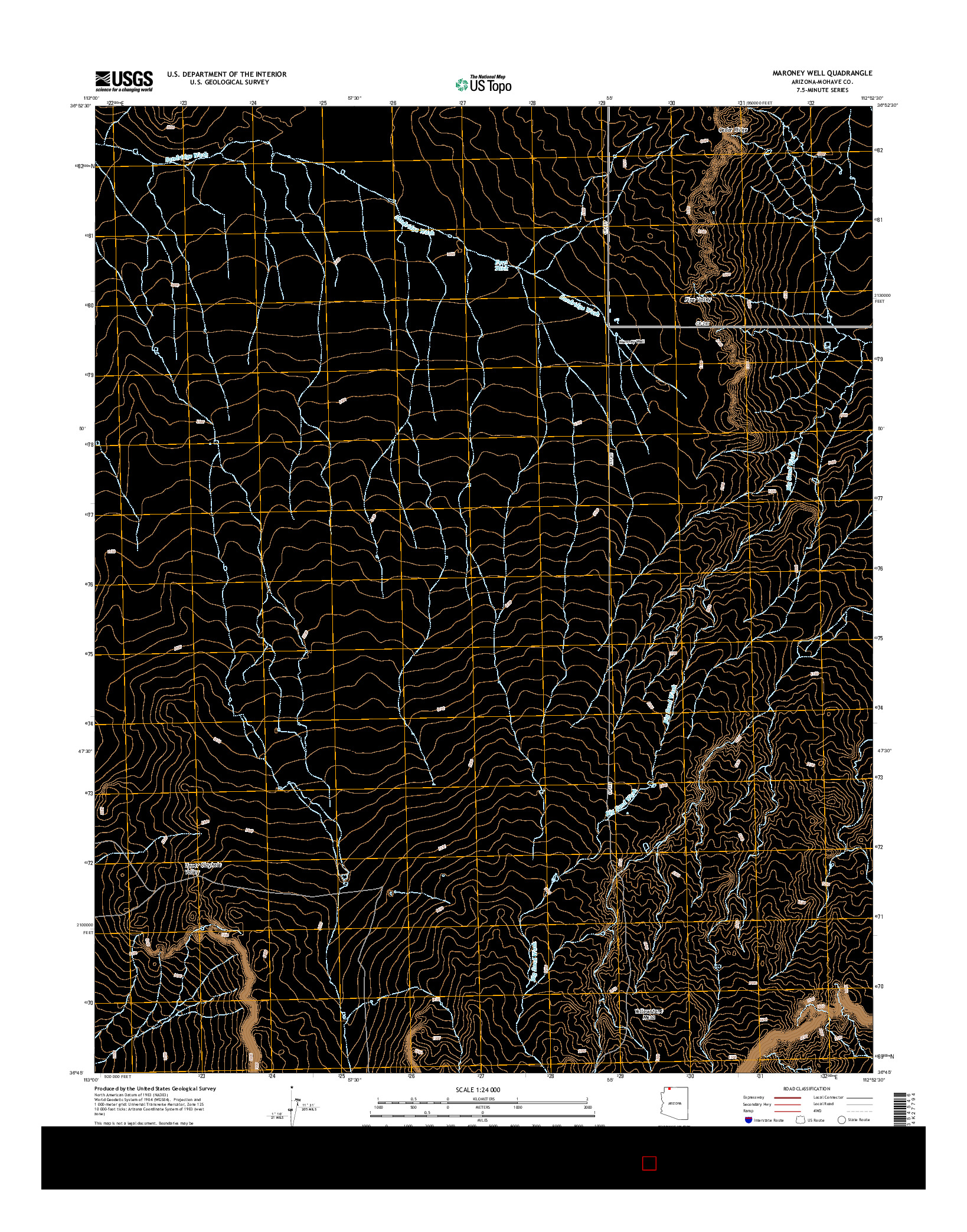USGS US TOPO 7.5-MINUTE MAP FOR MARONEY WELL, AZ 2014
