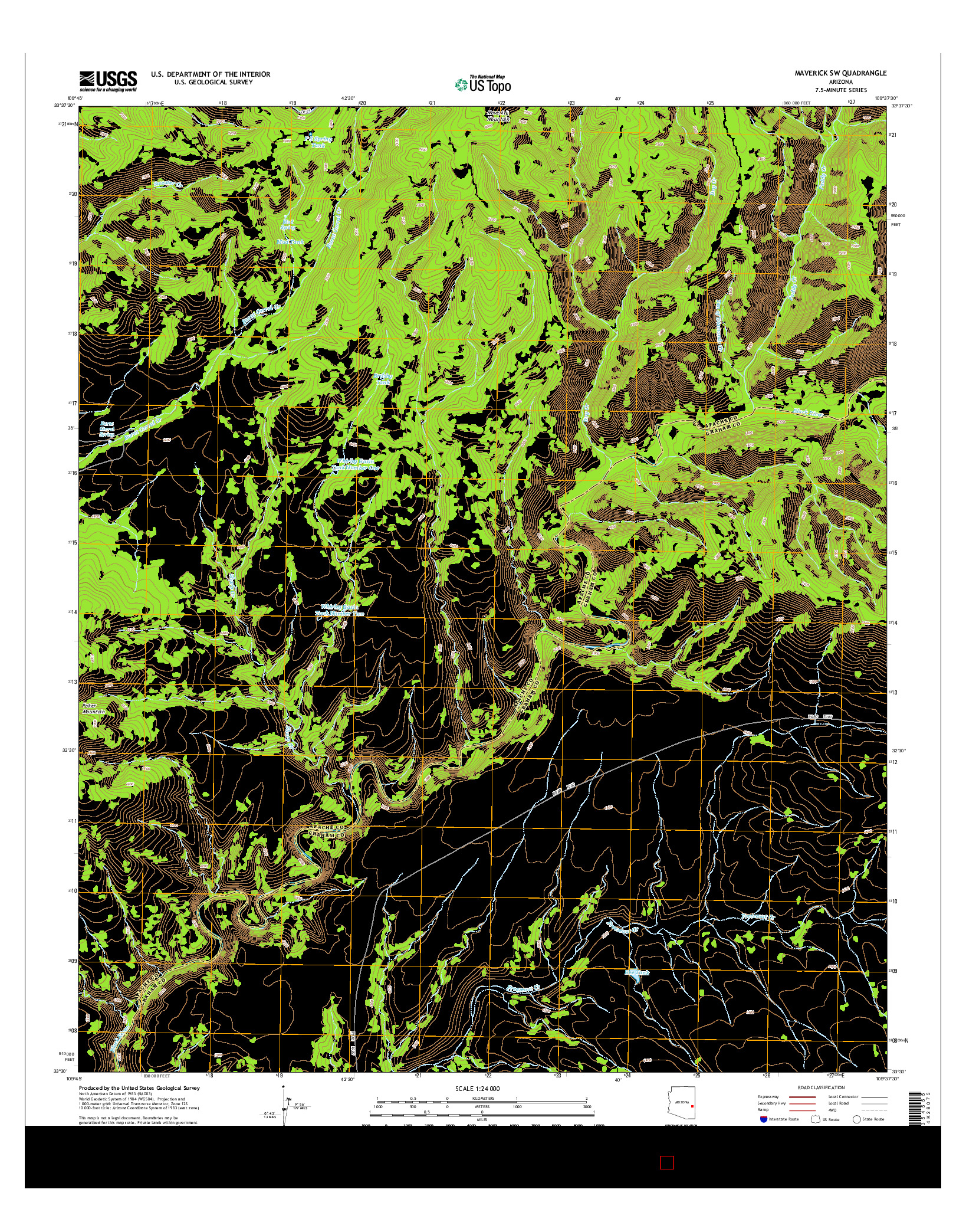 USGS US TOPO 7.5-MINUTE MAP FOR MAVERICK SW, AZ 2014