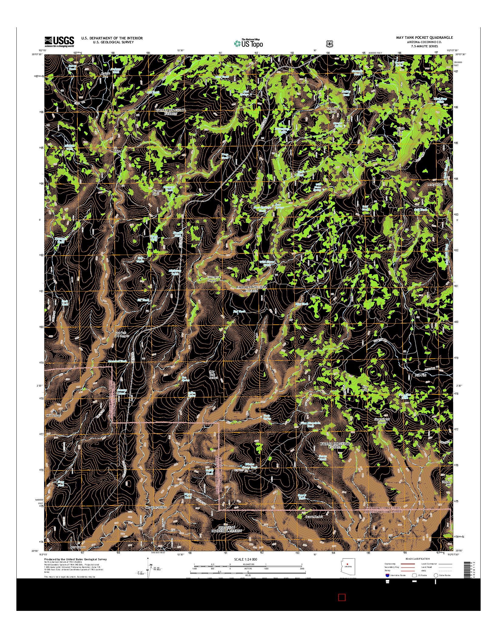USGS US TOPO 7.5-MINUTE MAP FOR MAY TANK POCKET, AZ 2014