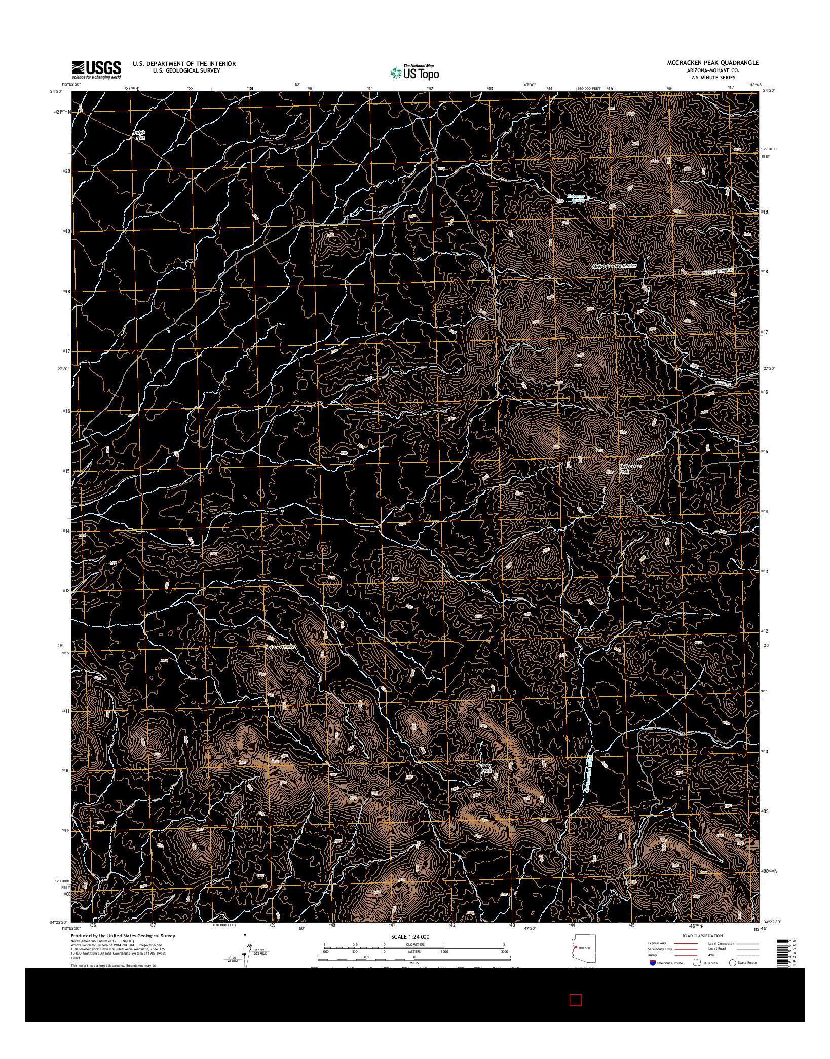USGS US TOPO 7.5-MINUTE MAP FOR MCCRACKEN PEAK, AZ 2014