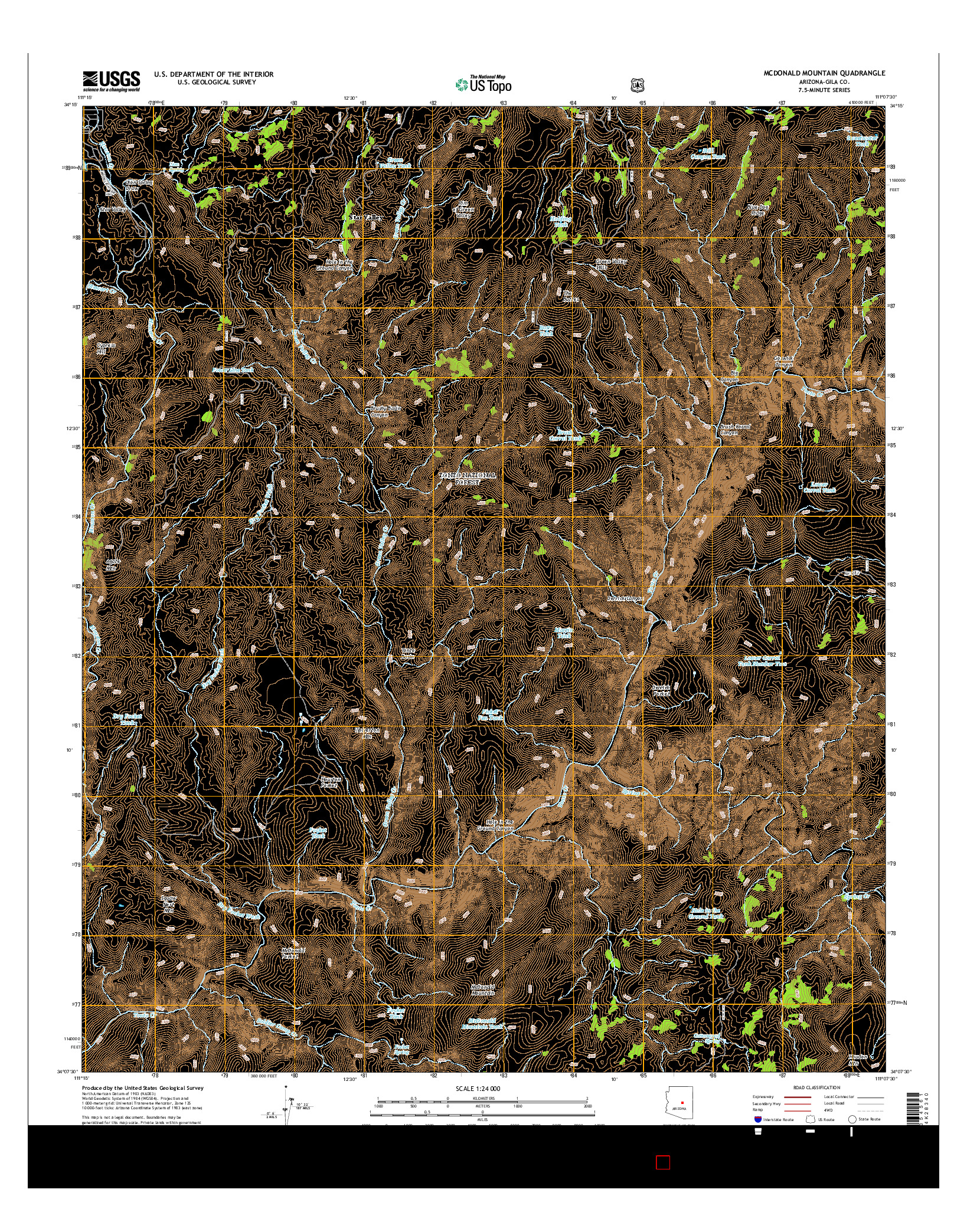 USGS US TOPO 7.5-MINUTE MAP FOR MCDONALD MOUNTAIN, AZ 2014