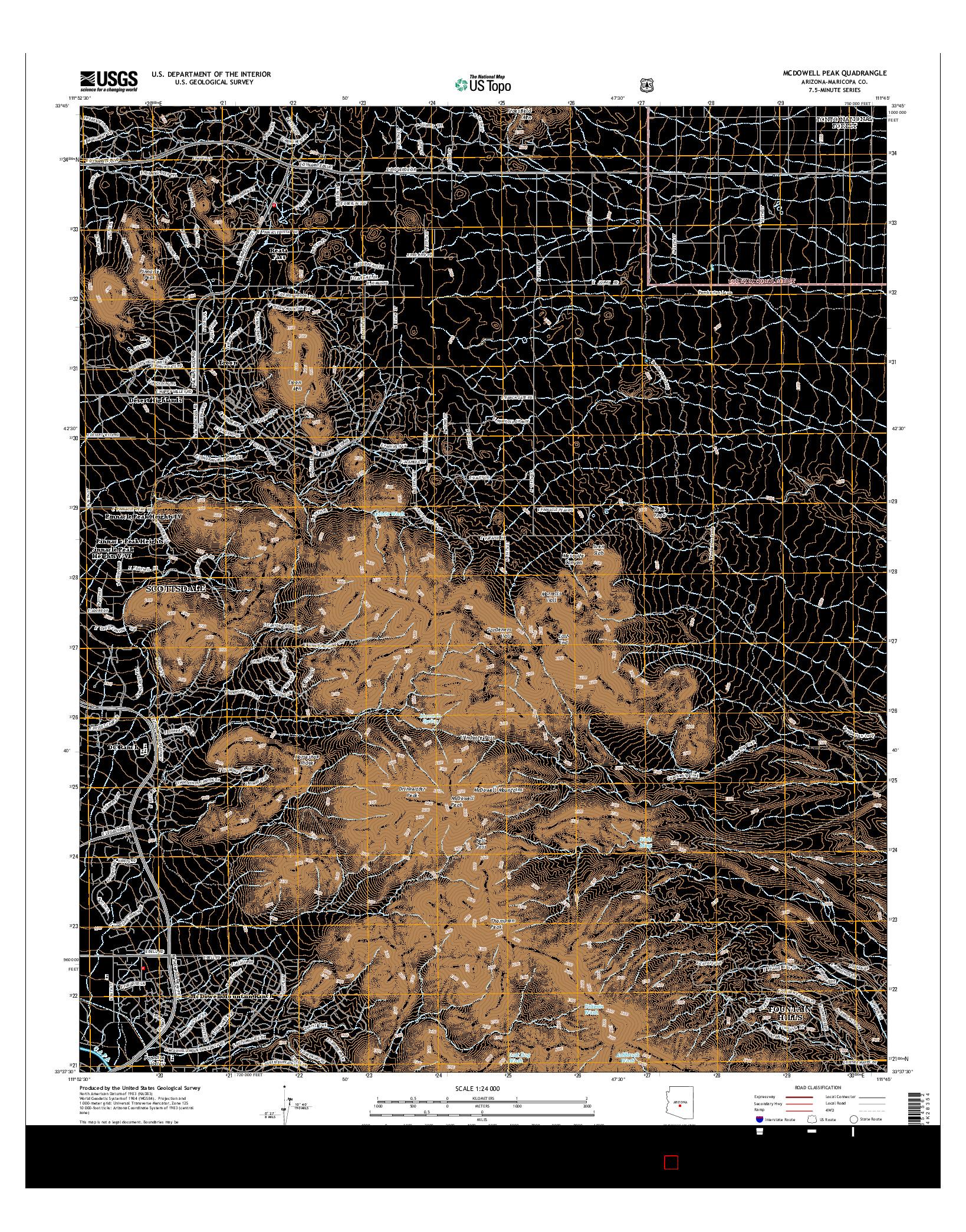 USGS US TOPO 7.5-MINUTE MAP FOR MCDOWELL PEAK, AZ 2014