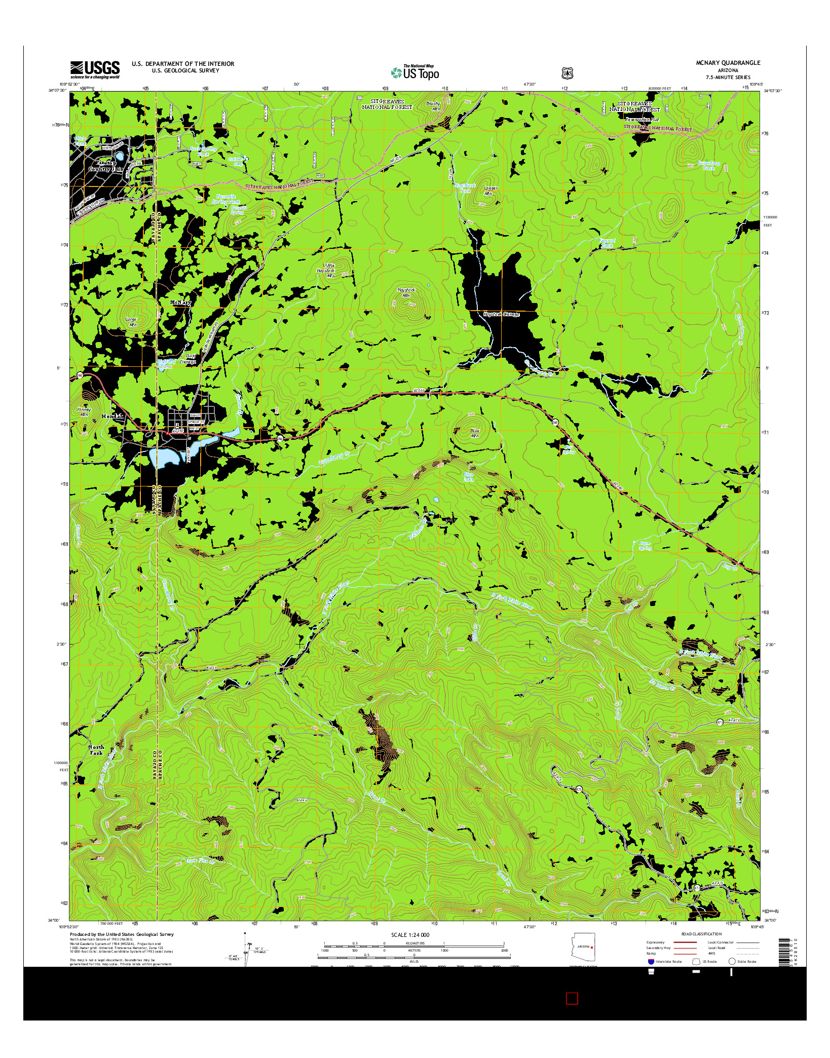 USGS US TOPO 7.5-MINUTE MAP FOR MCNARY, AZ 2014