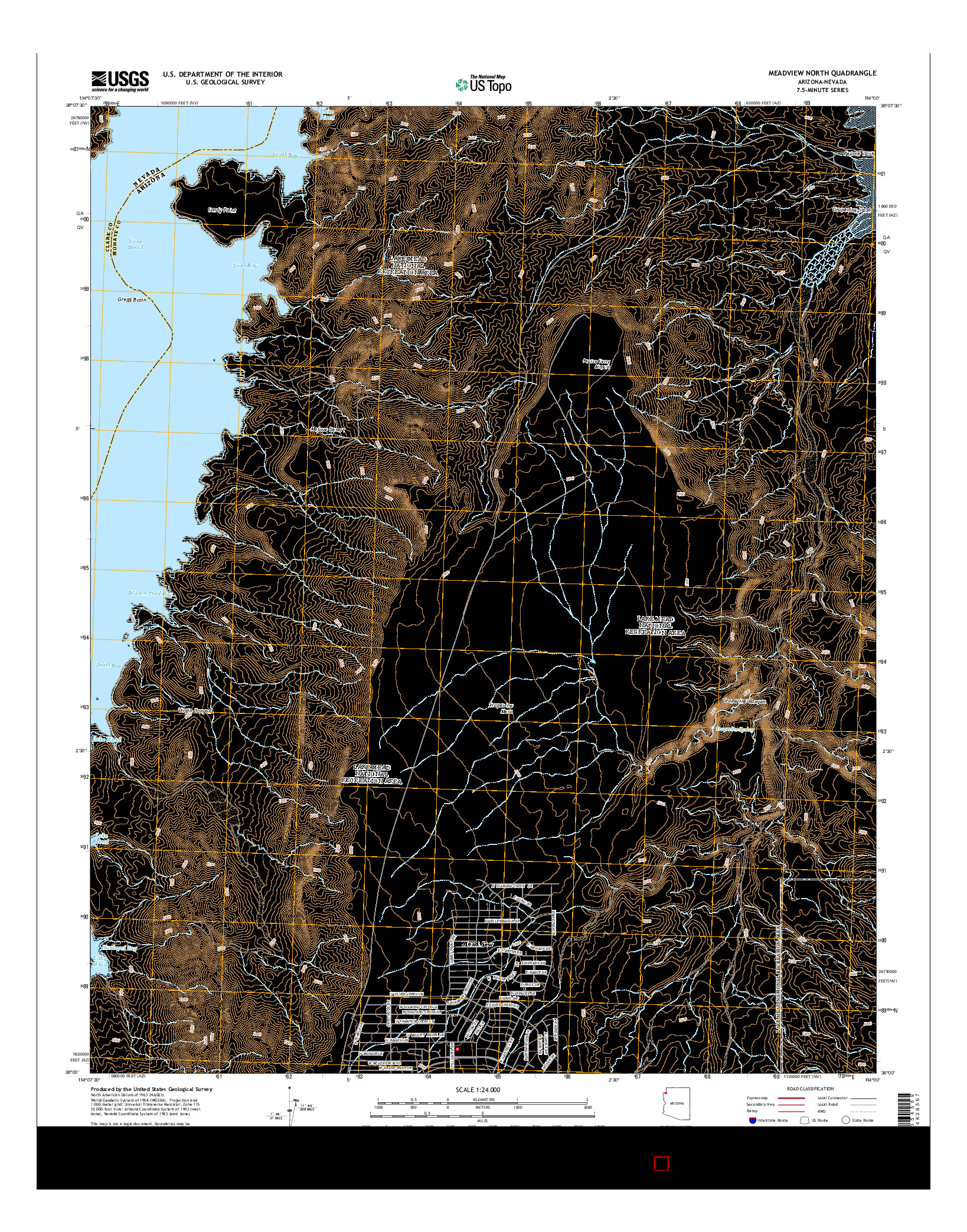 USGS US TOPO 7.5-MINUTE MAP FOR MEADVIEW NORTH, AZ-NV 2014