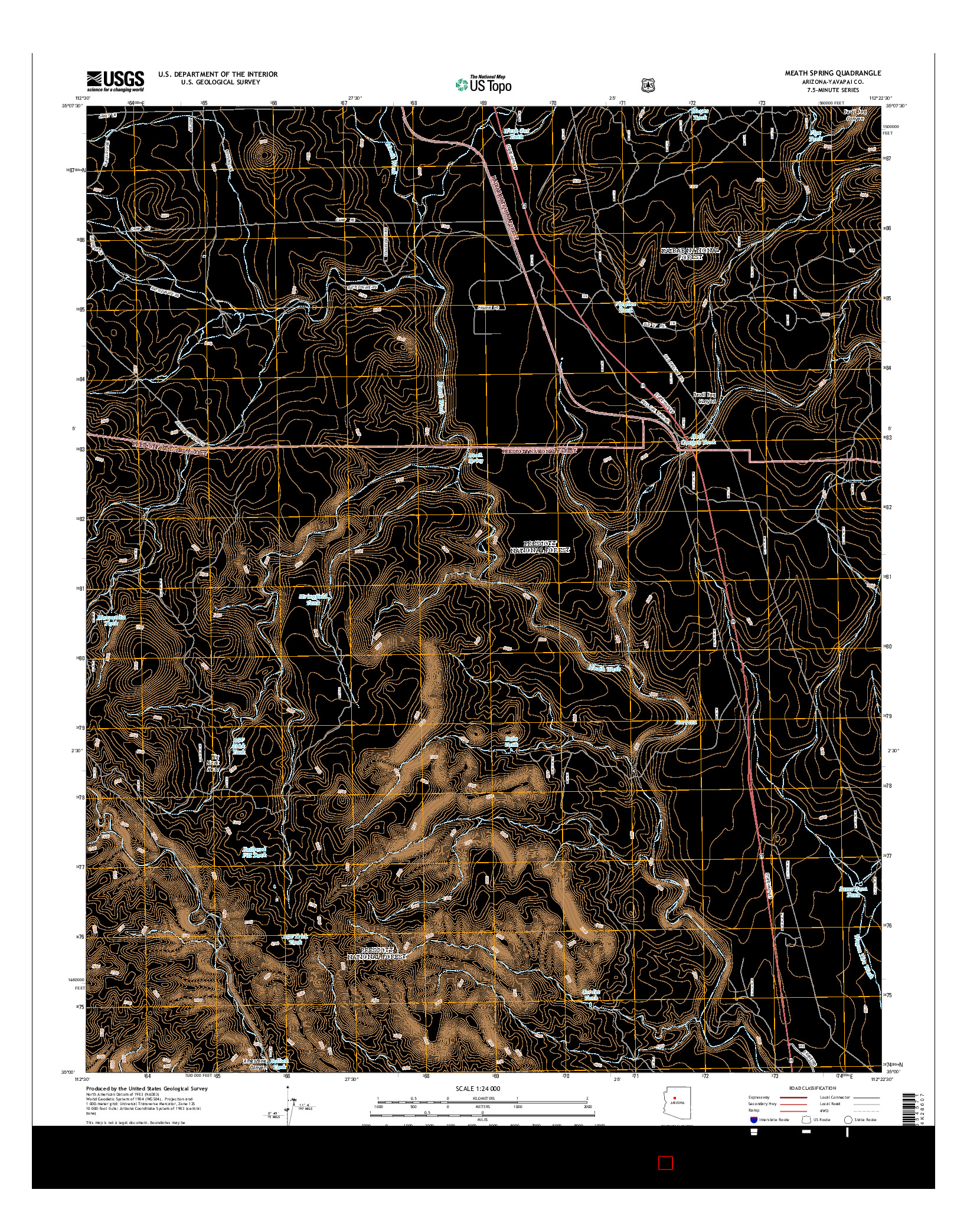 USGS US TOPO 7.5-MINUTE MAP FOR MEATH SPRING, AZ 2014