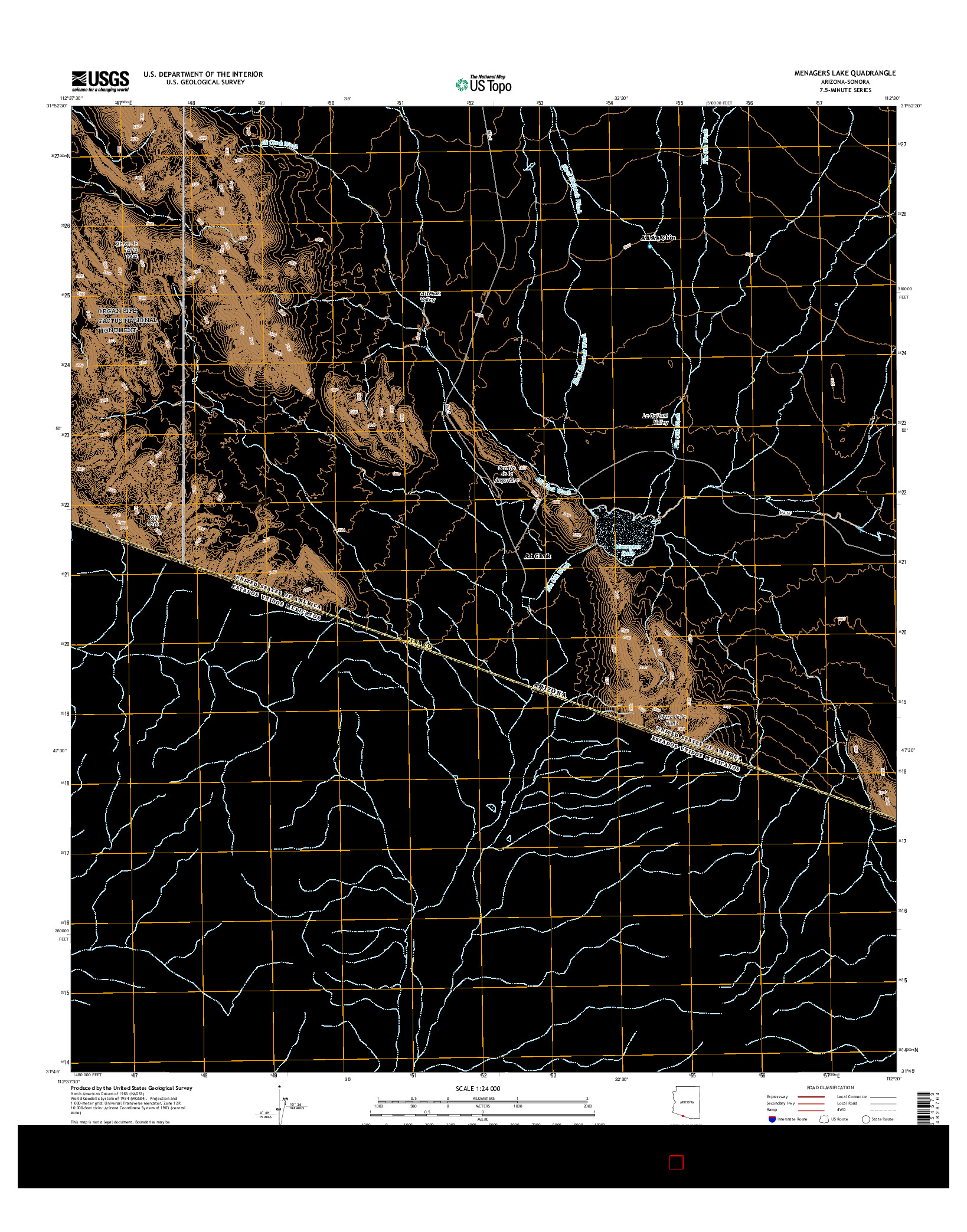 USGS US TOPO 7.5-MINUTE MAP FOR MENAGERS LAKE, AZ-SON 2014