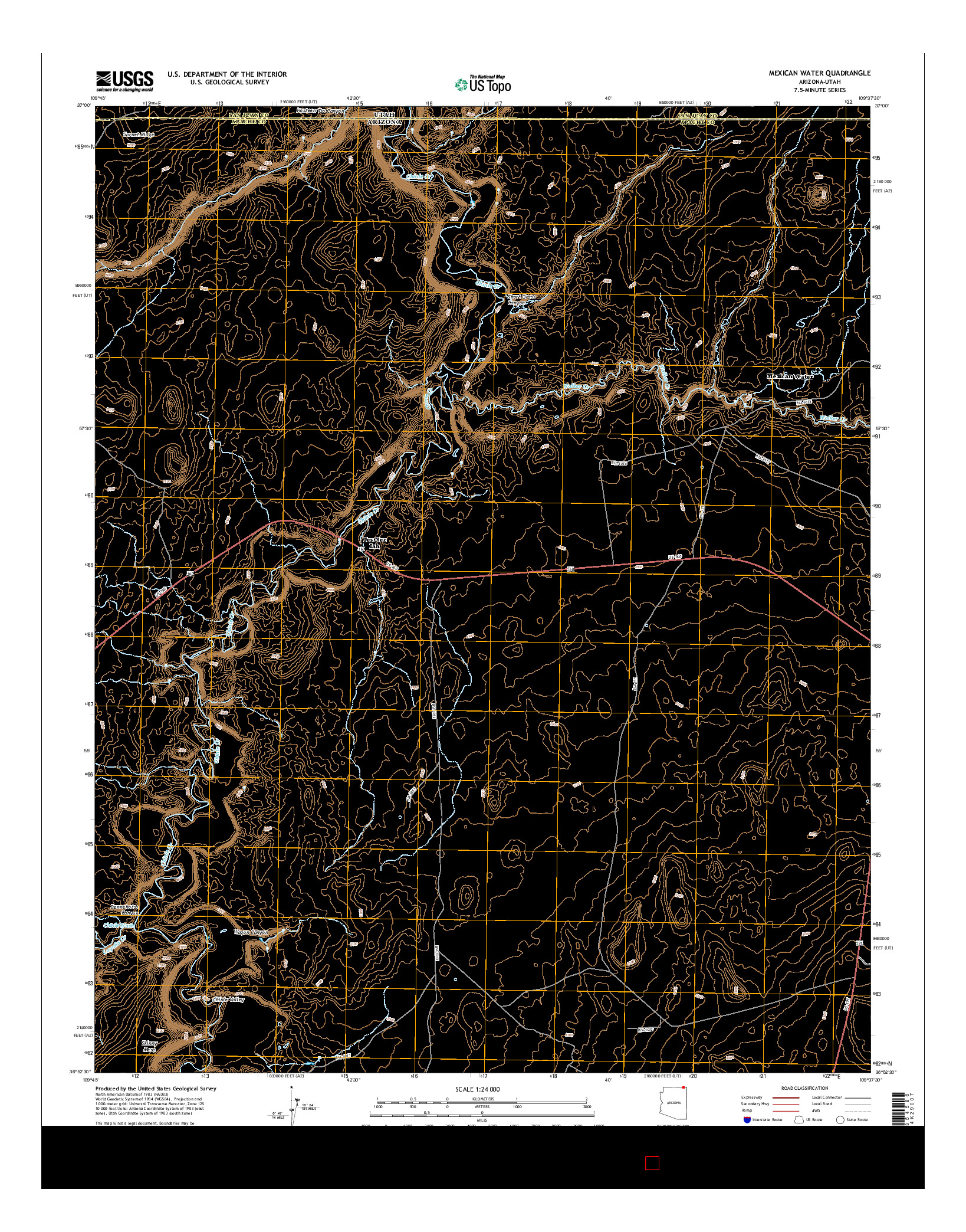 USGS US TOPO 7.5-MINUTE MAP FOR MEXICAN WATER, AZ-UT 2014