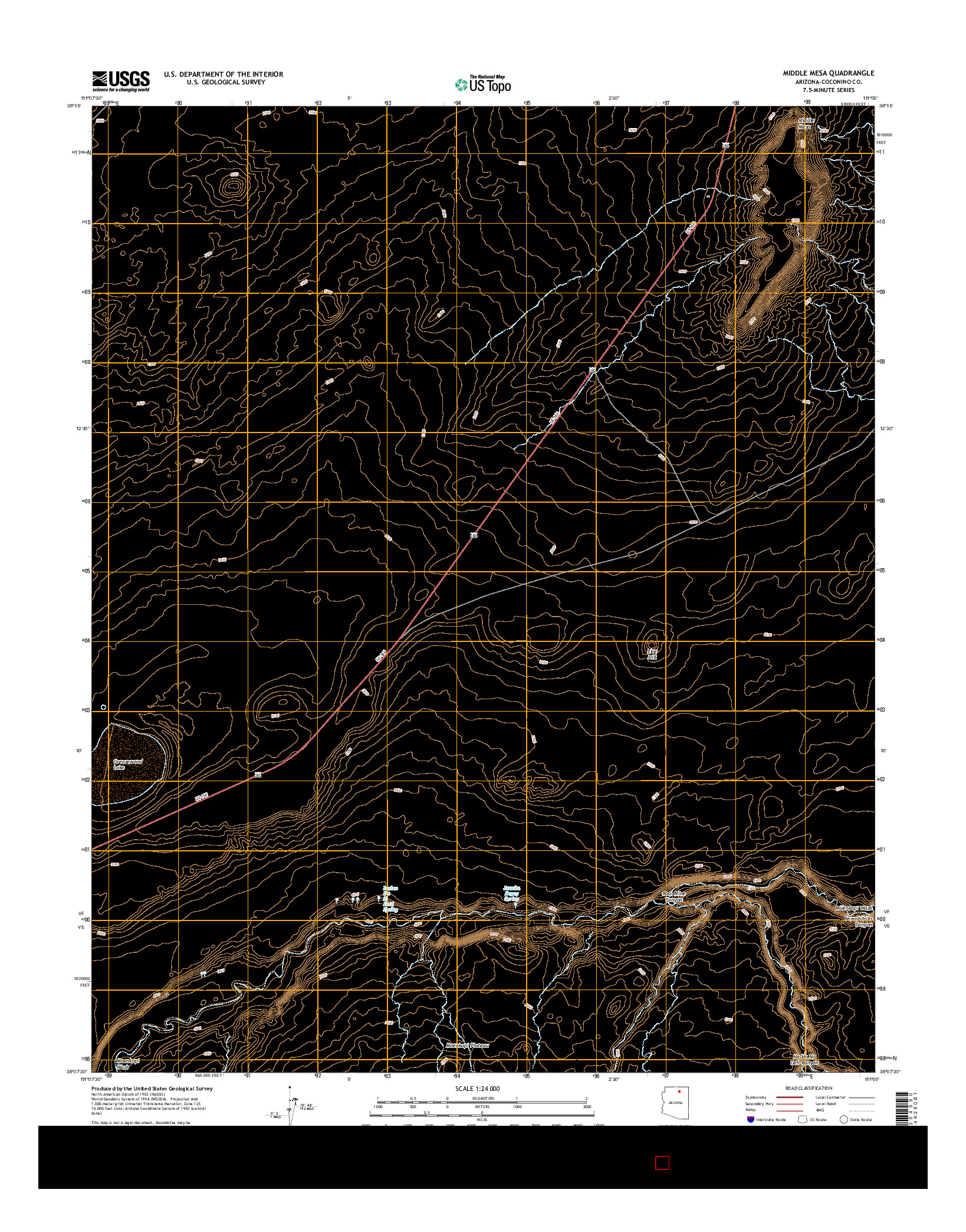 USGS US TOPO 7.5-MINUTE MAP FOR MIDDLE MESA, AZ 2014
