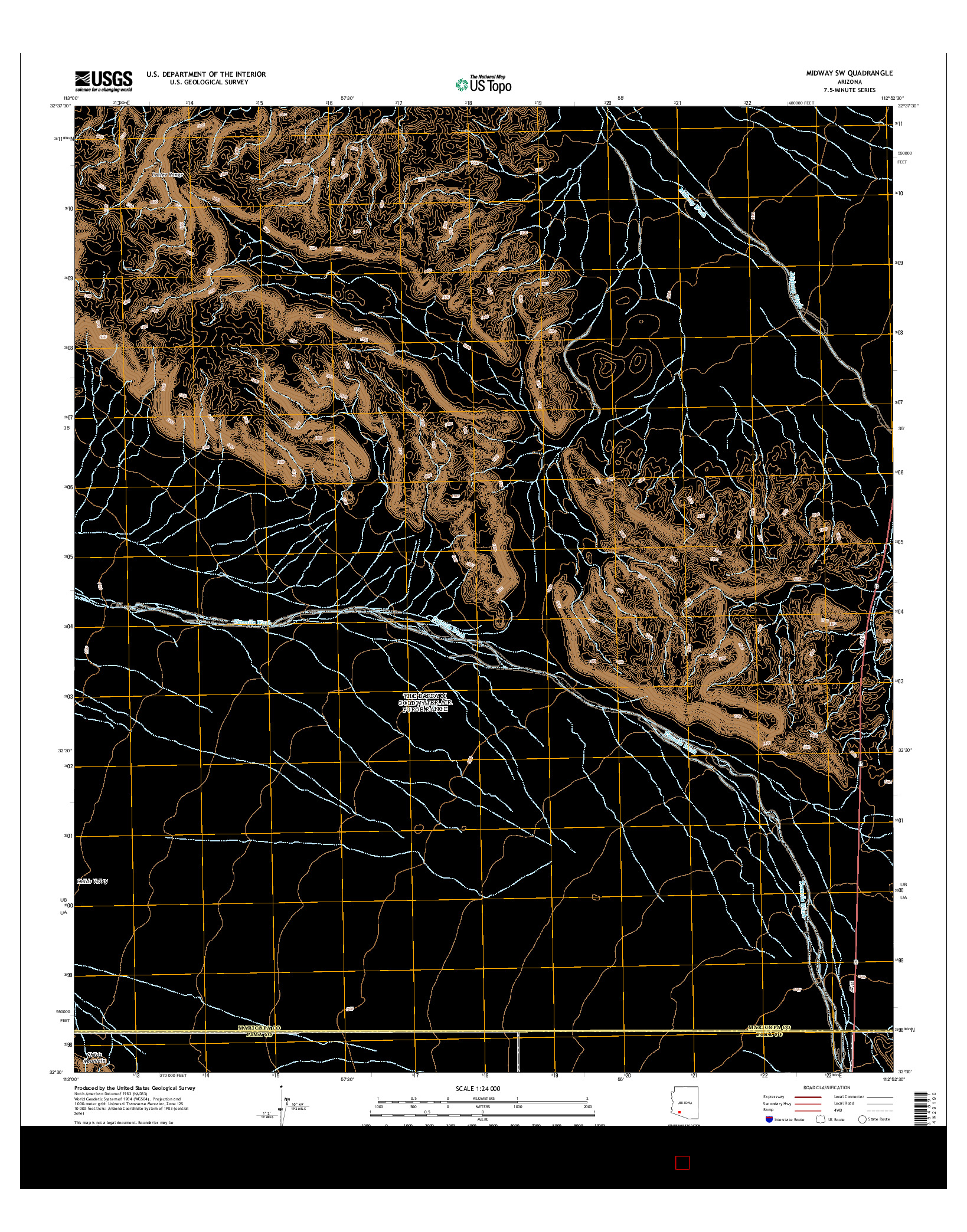 USGS US TOPO 7.5-MINUTE MAP FOR MIDWAY SW, AZ 2014