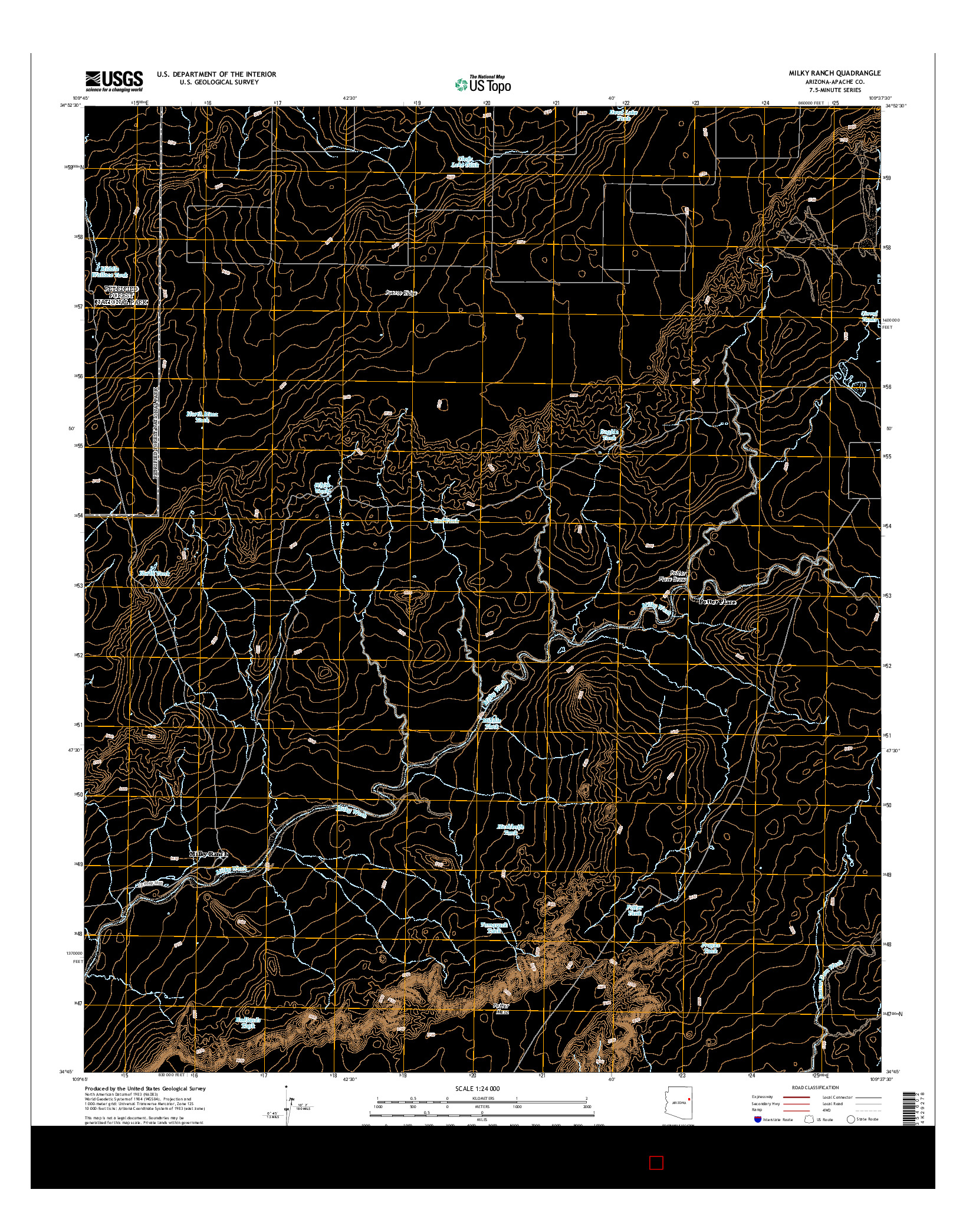 USGS US TOPO 7.5-MINUTE MAP FOR MILKY RANCH, AZ 2014